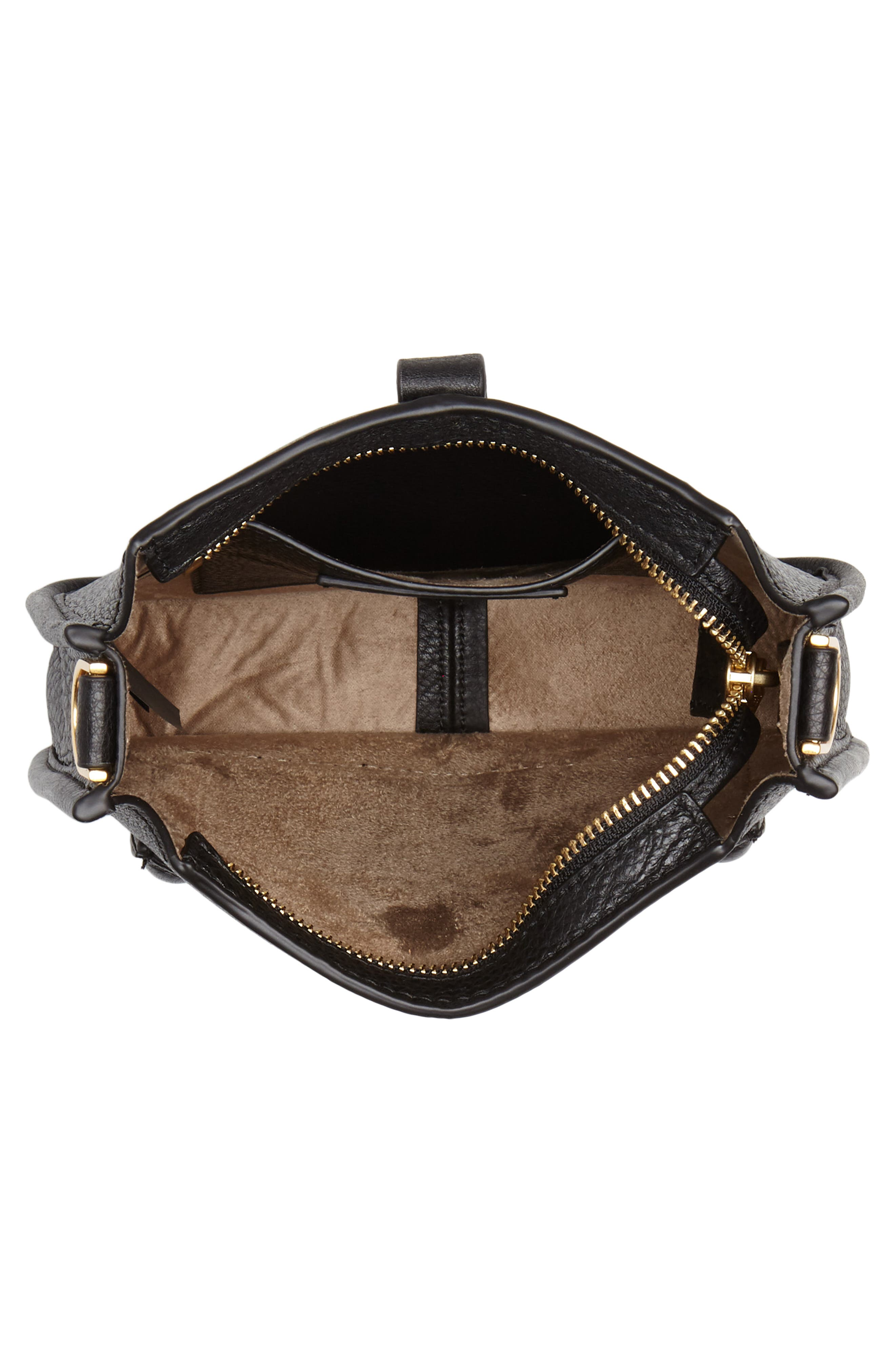 Mini Unlined Leather Feed Bag,                             Alternate thumbnail 4, color,                             010