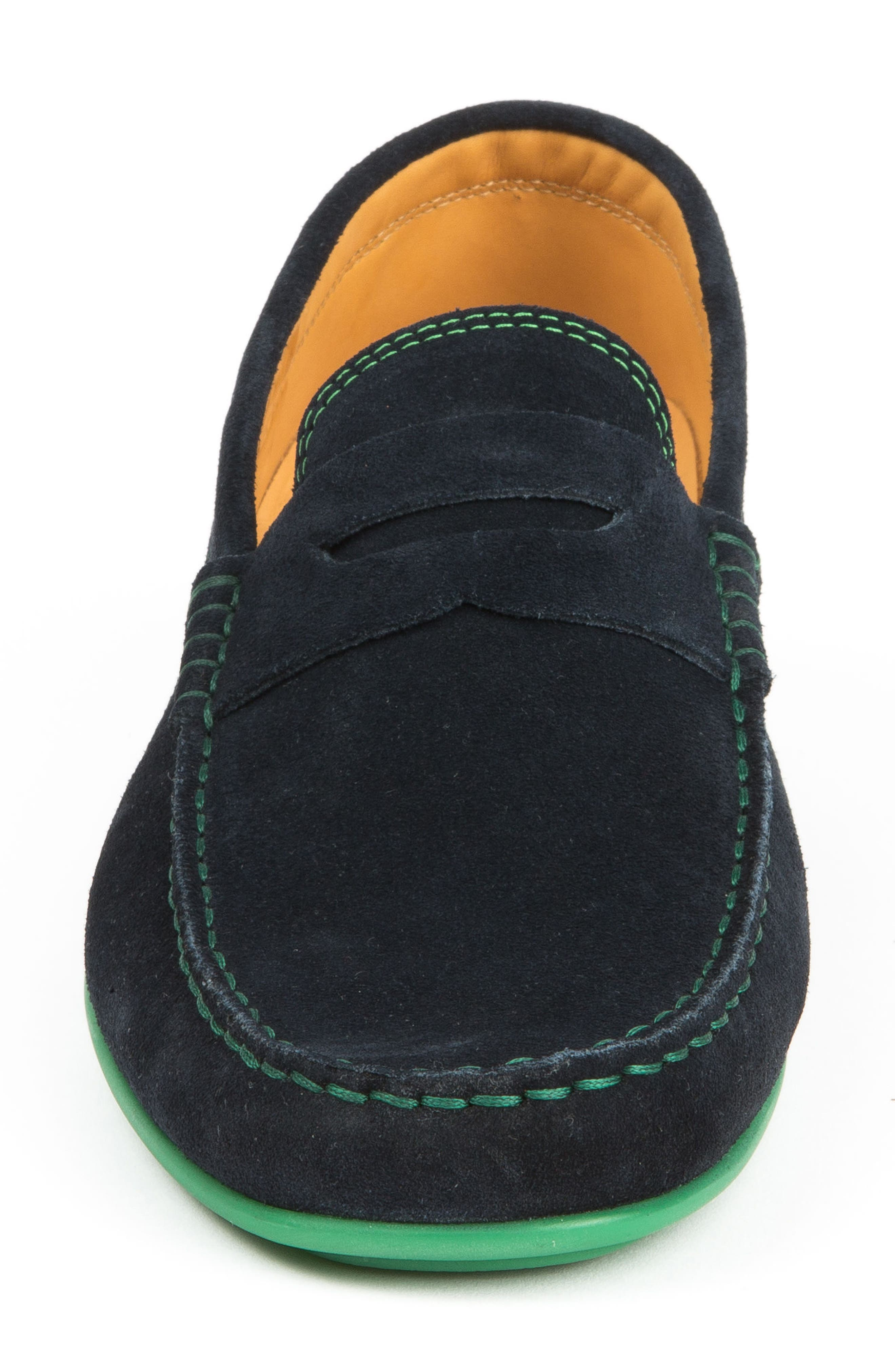 'Chathams' Penny Loafer,                             Alternate thumbnail 4, color,                             NAVY SUEDE/ GREEN