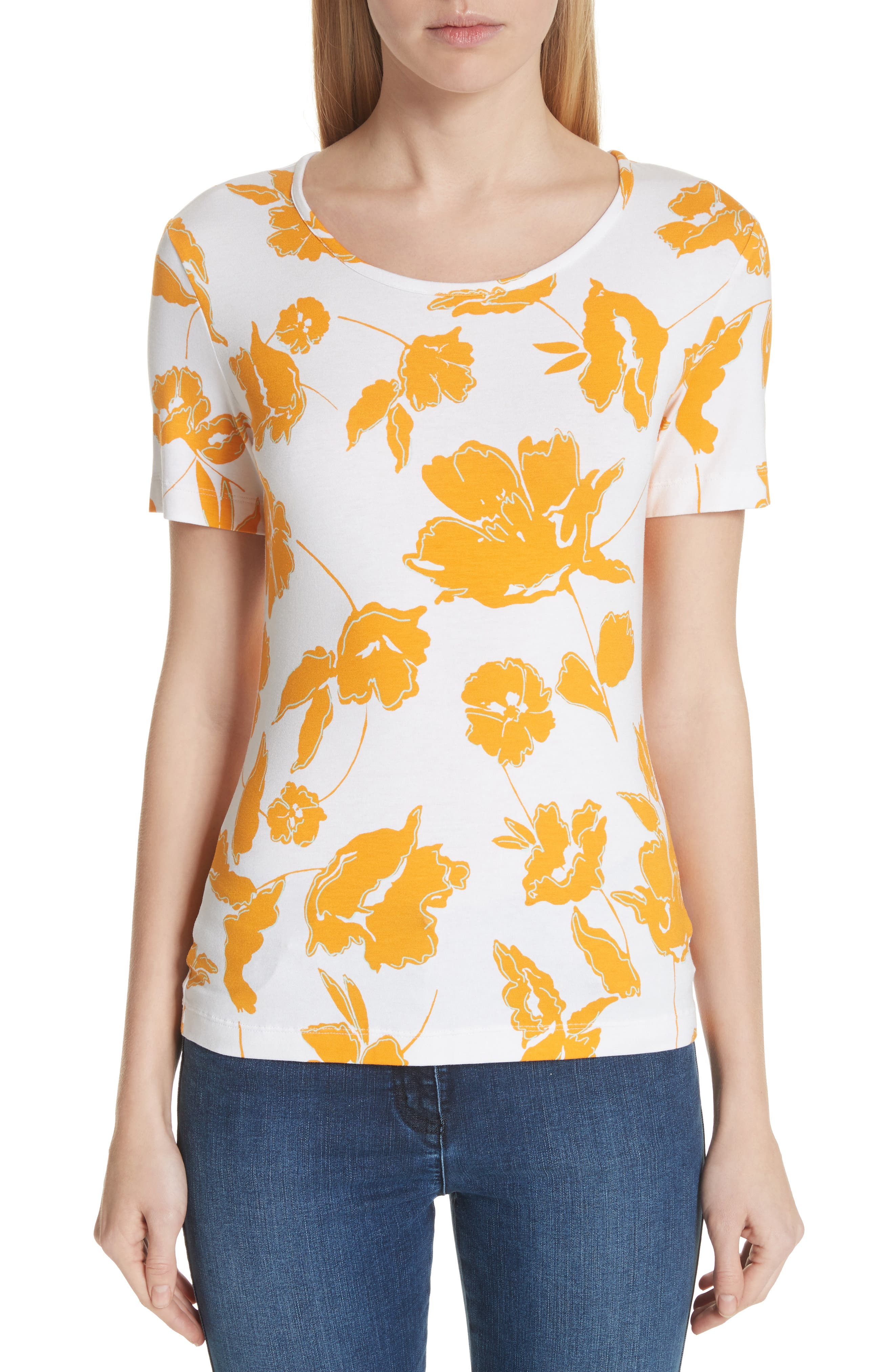 Painted Floral Jersey Tee,                             Main thumbnail 1, color,                             MANGO MULTI