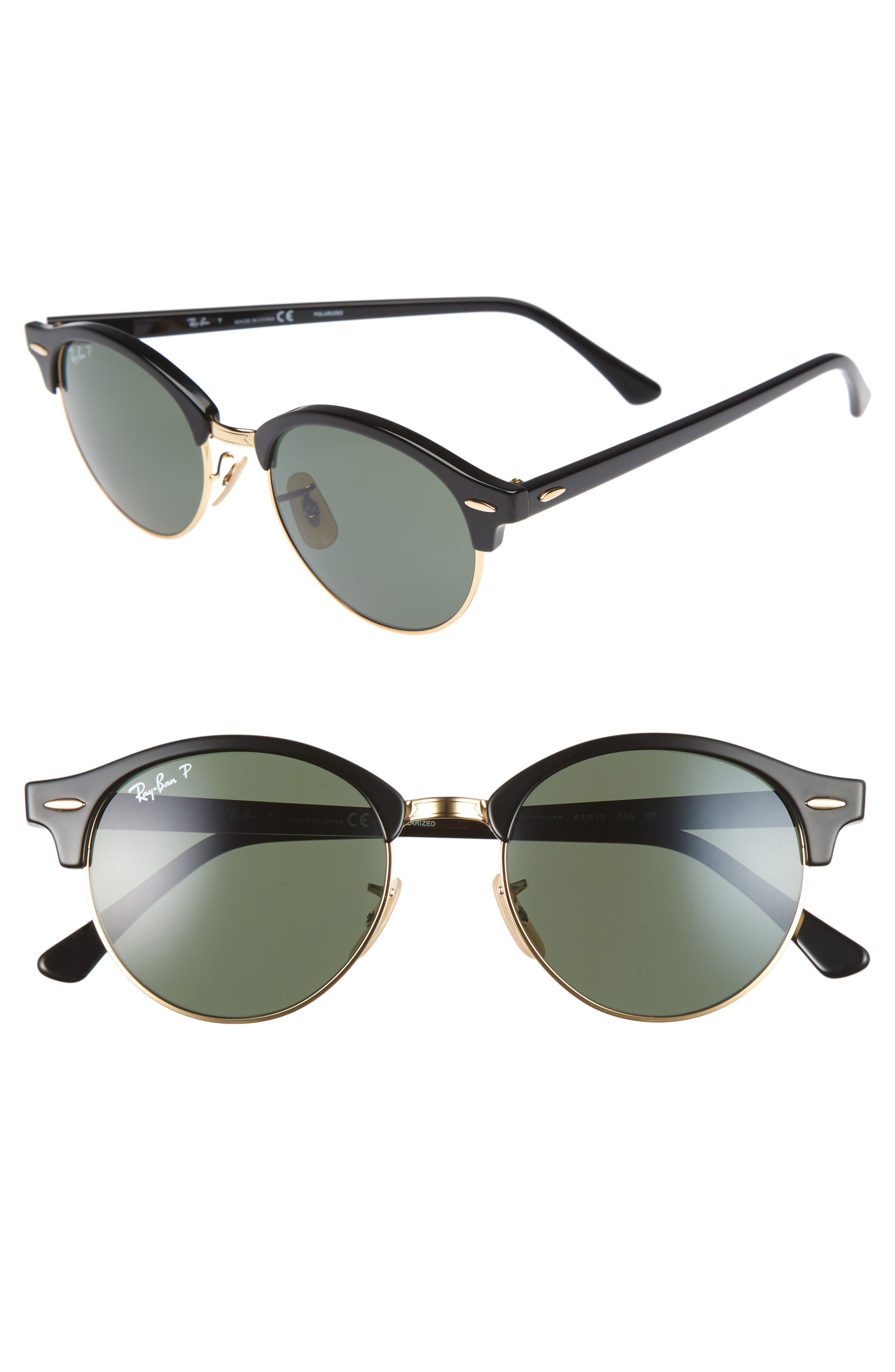 Clubround 51mm Polarized Sunglasses,                             Main thumbnail 1, color,                             BLACK/ GREEN