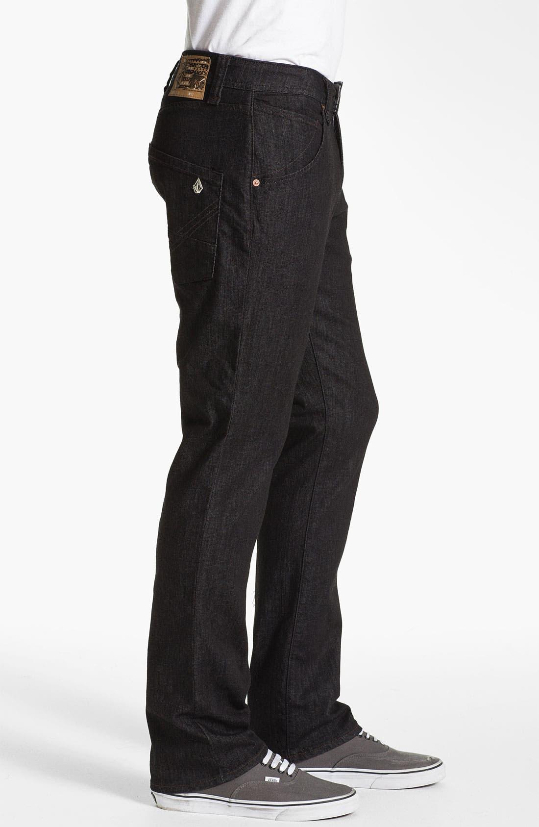 VOLCOM,                             'Nova' Slim Straight Leg Jeans,                             Alternate thumbnail 3, color,                             001