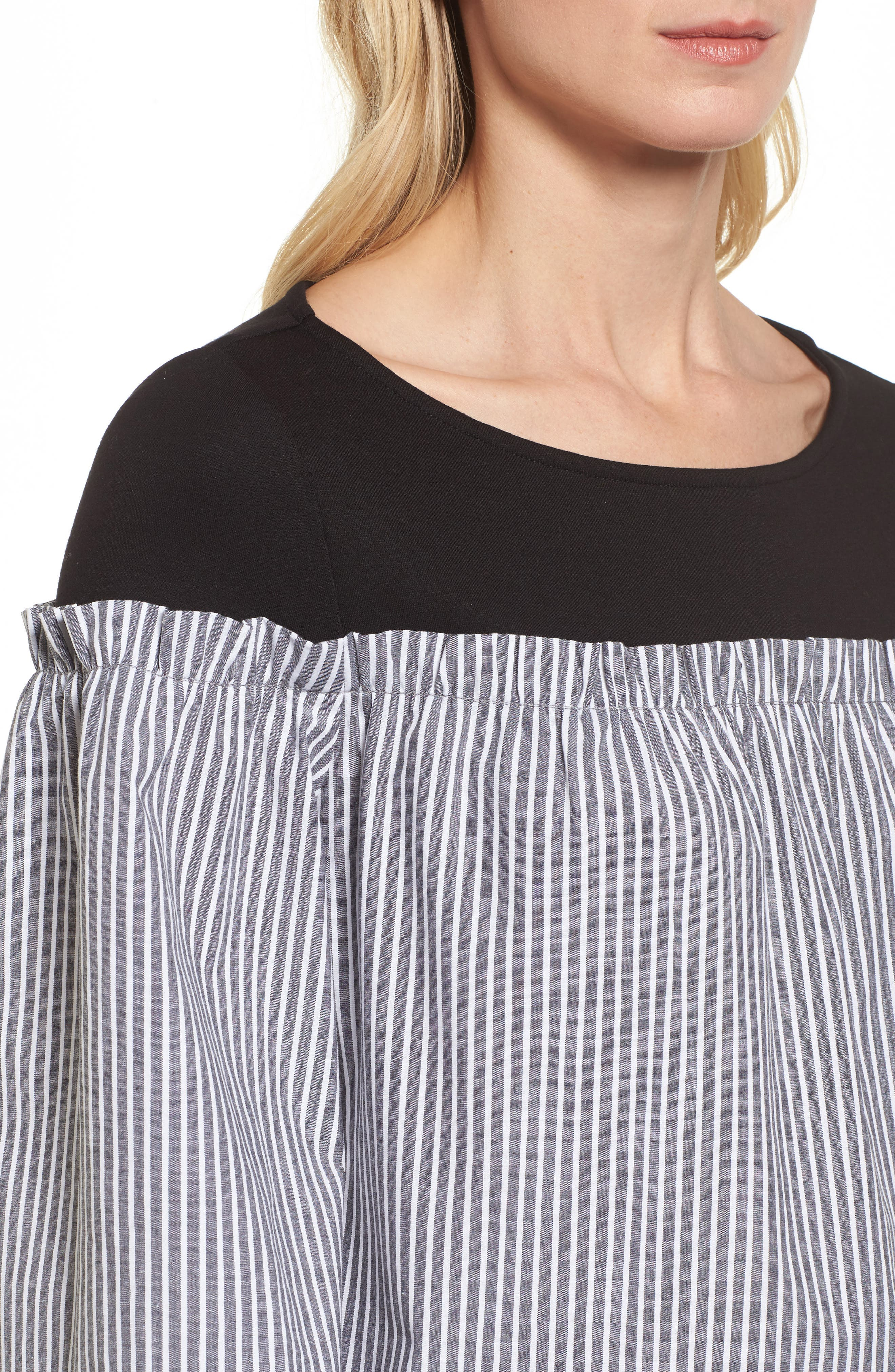 Ruffle Detail Mix Media High/Low Shirt,                             Alternate thumbnail 7, color,