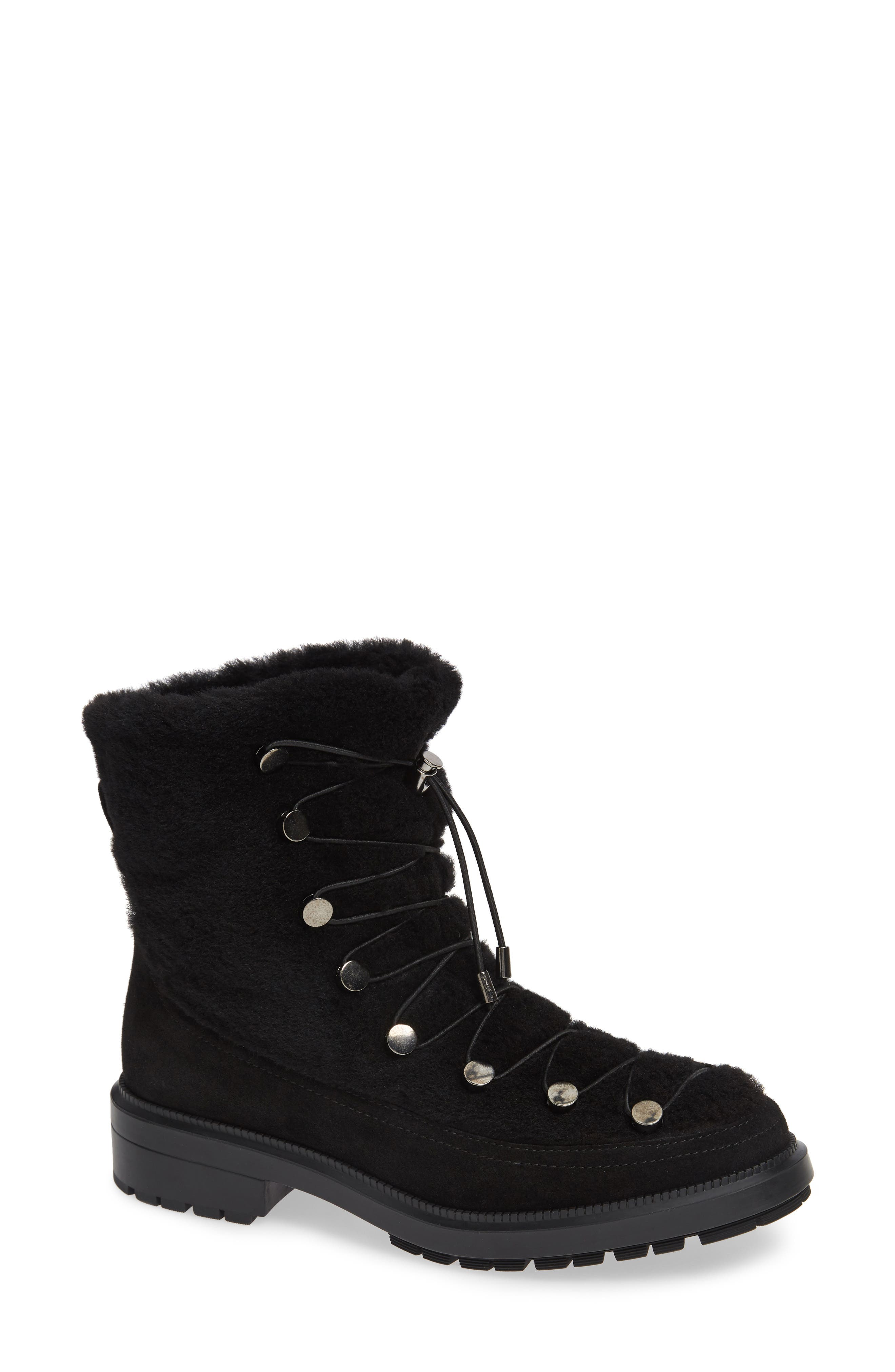 AQUATALIA Women'S Lorena Weatherproof Shearling Lace Up Booties in Black