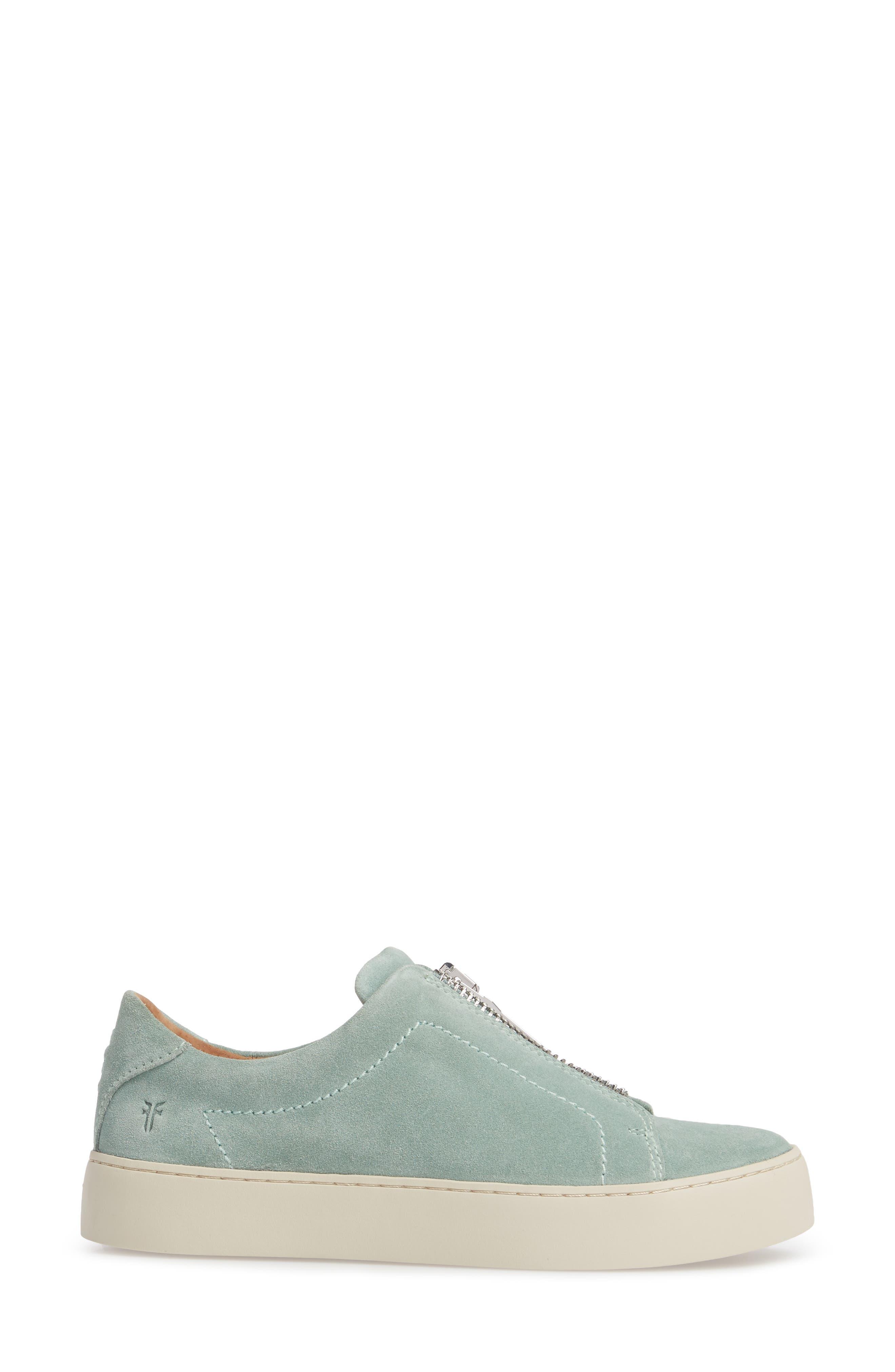 Lena Zip Sneaker,                             Alternate thumbnail 3, color,                             MINT SUEDE