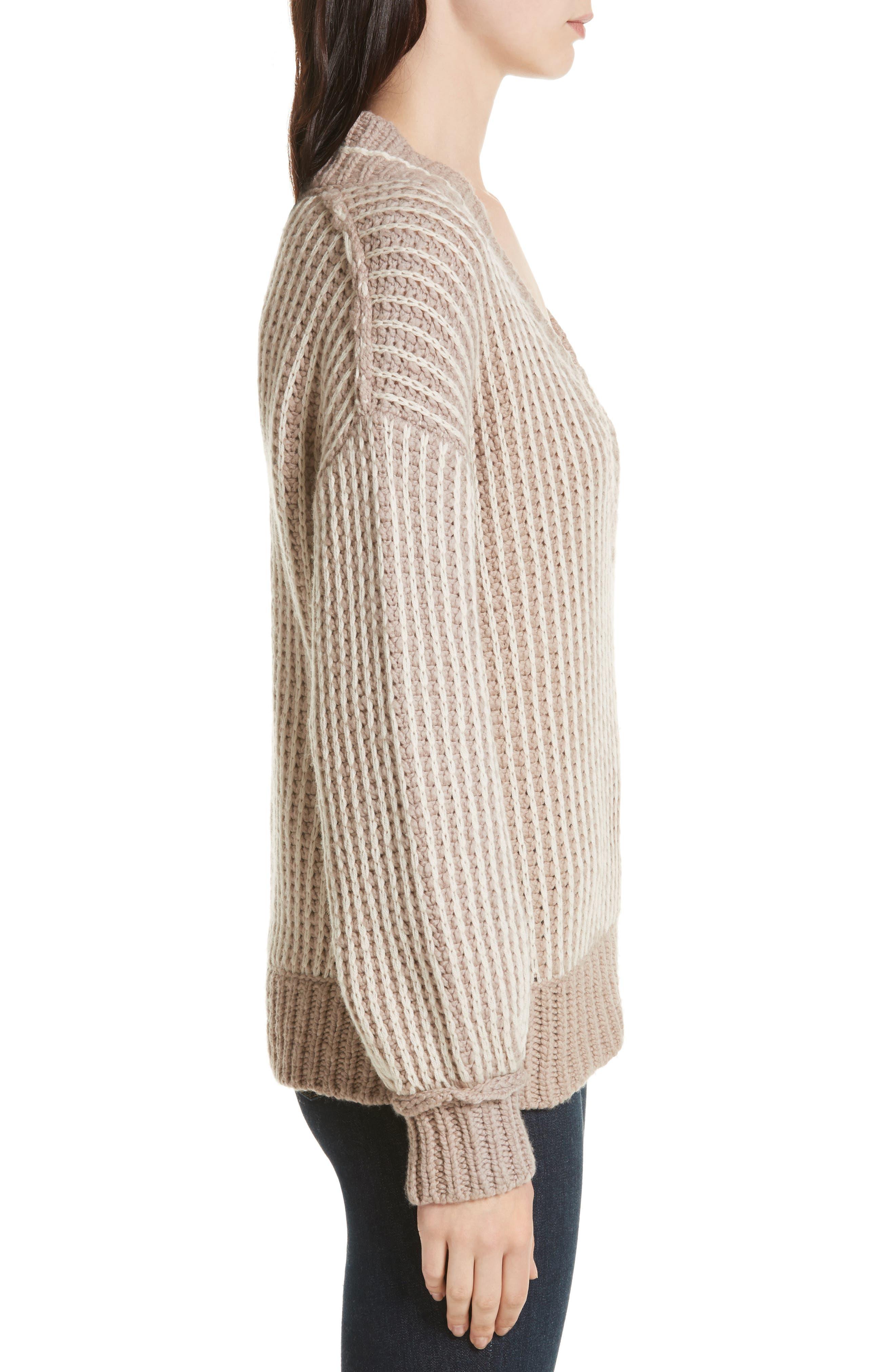 Jessen Stripe Wool & Cashmere Sweater,                             Alternate thumbnail 3, color,                             210