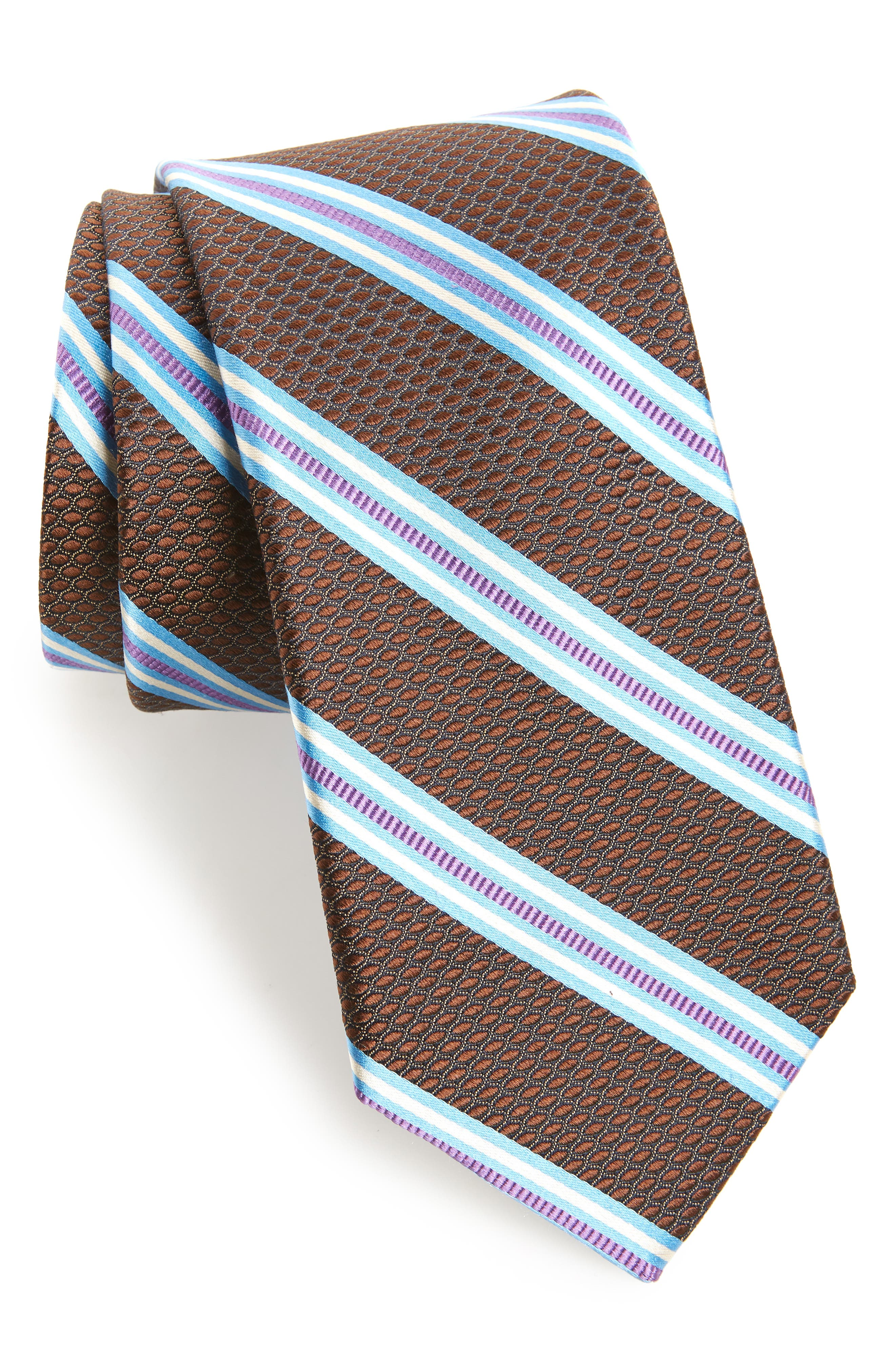 Stripe Silk Tie,                             Main thumbnail 1, color,                             BROWN