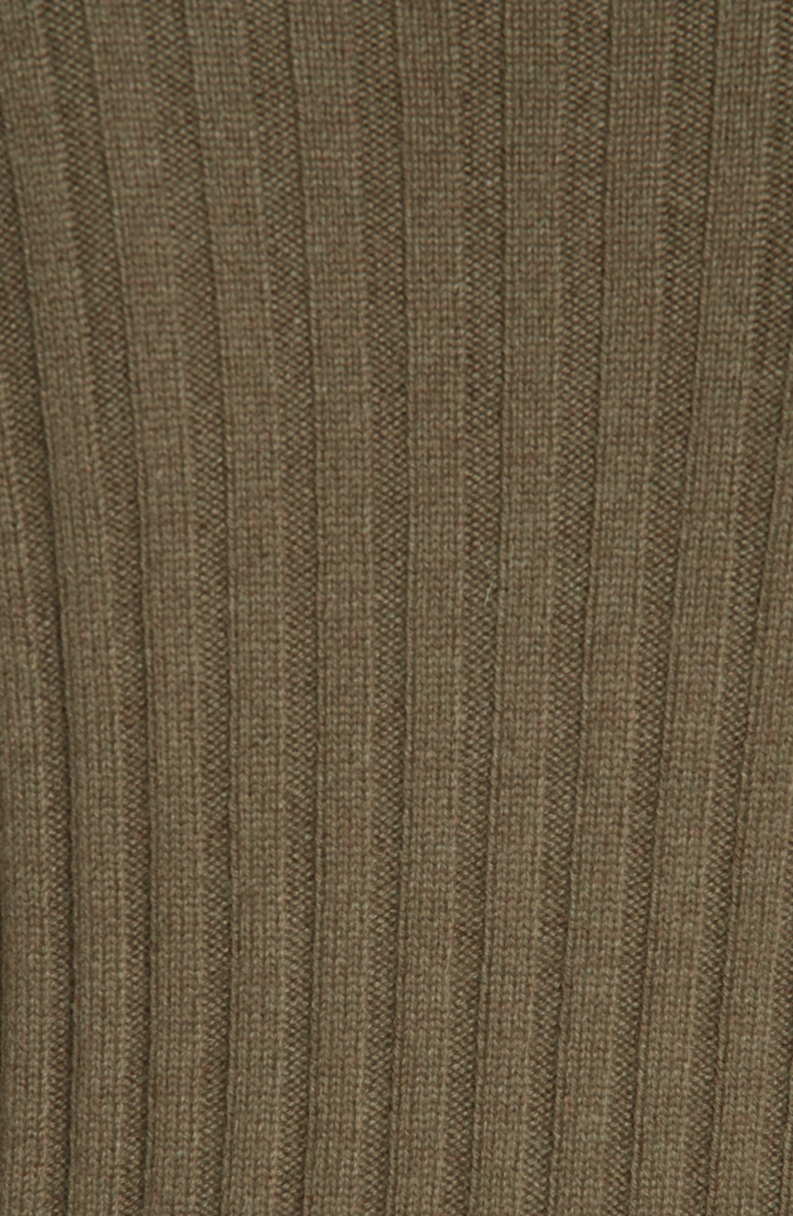 Rib Knit Cashmere Tunic,                             Alternate thumbnail 5, color,                             OLIVE IVY HEATHER