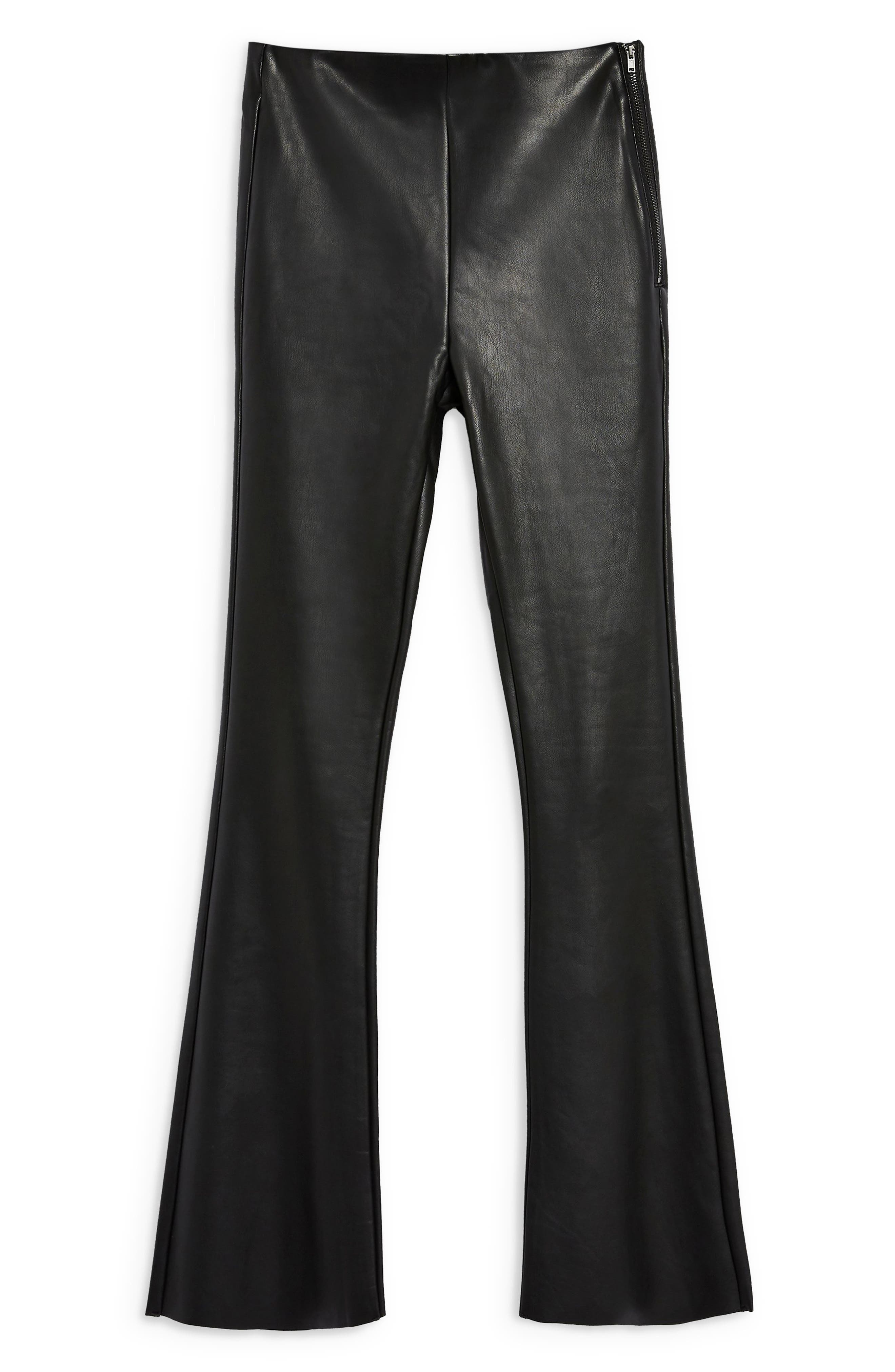 Faux Leather Flare Pants,                             Alternate thumbnail 3, color,                             001