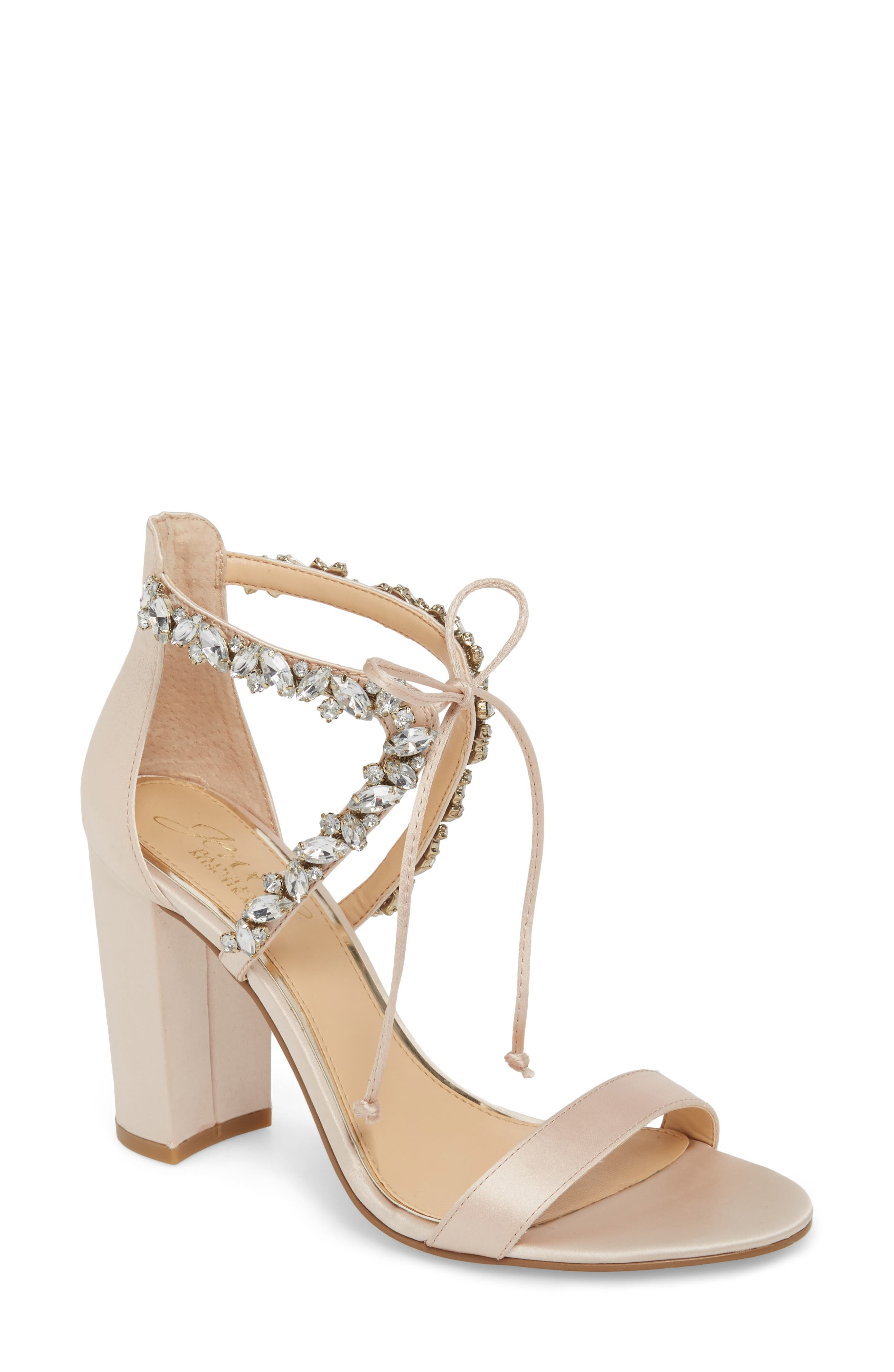JEWEL BADGLEY MISCHKA,                             Thamar Embellished Sandal,                             Main thumbnail 1, color,                             CHAMPAGNE SATIN