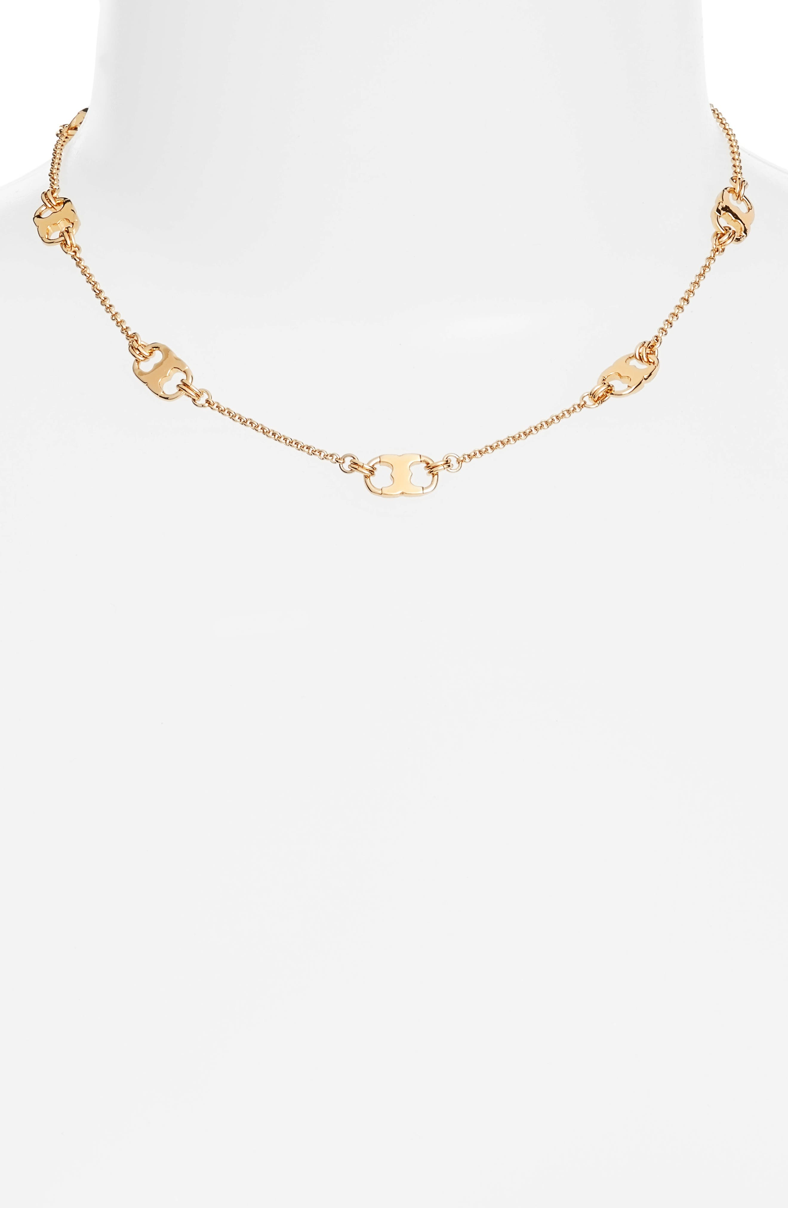 Gemini Link Station Necklace,                         Main,                         color, TORY GOLD