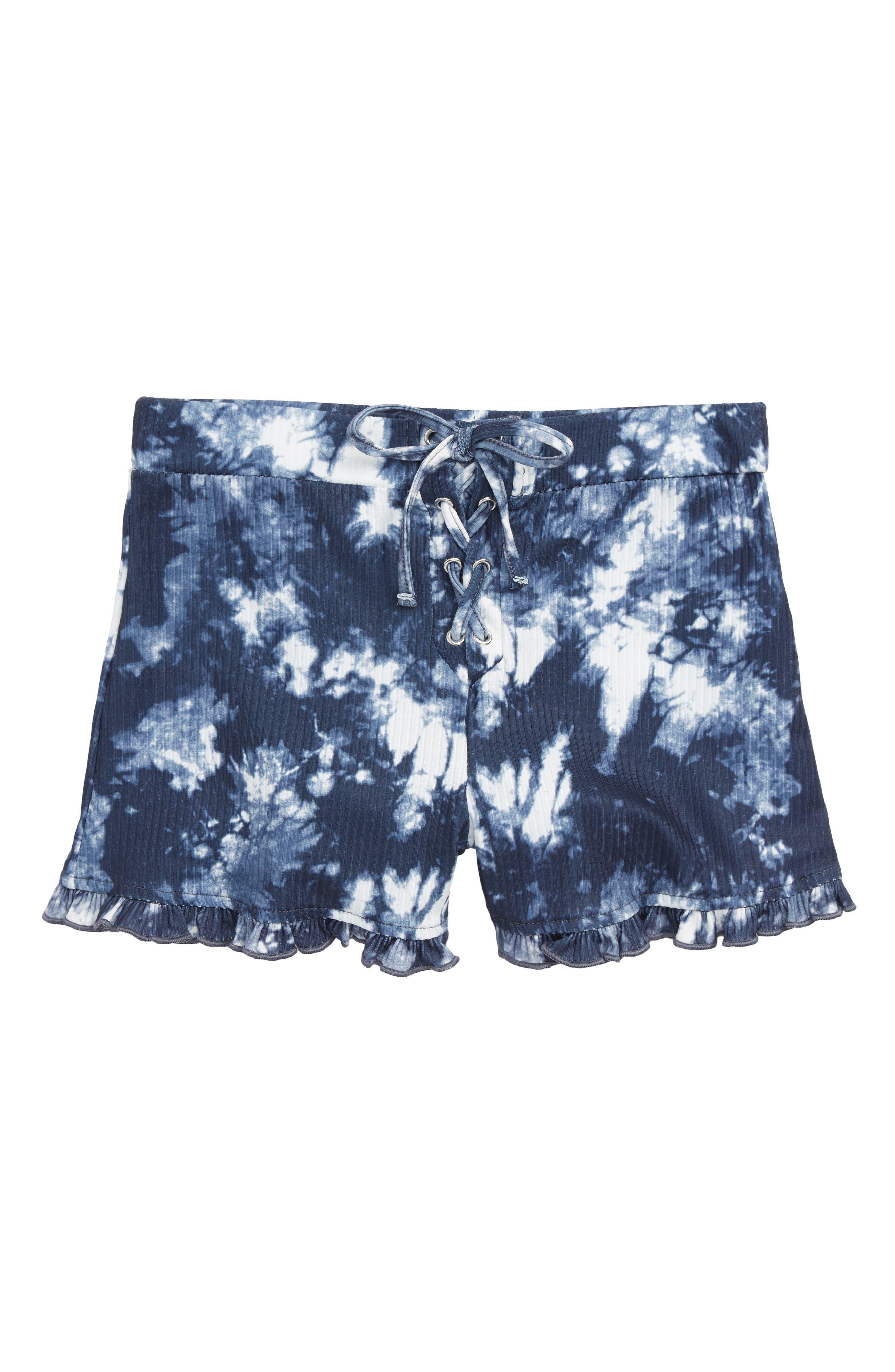 Tie Dye Ruffle Shorts,                             Main thumbnail 1, color,                             414