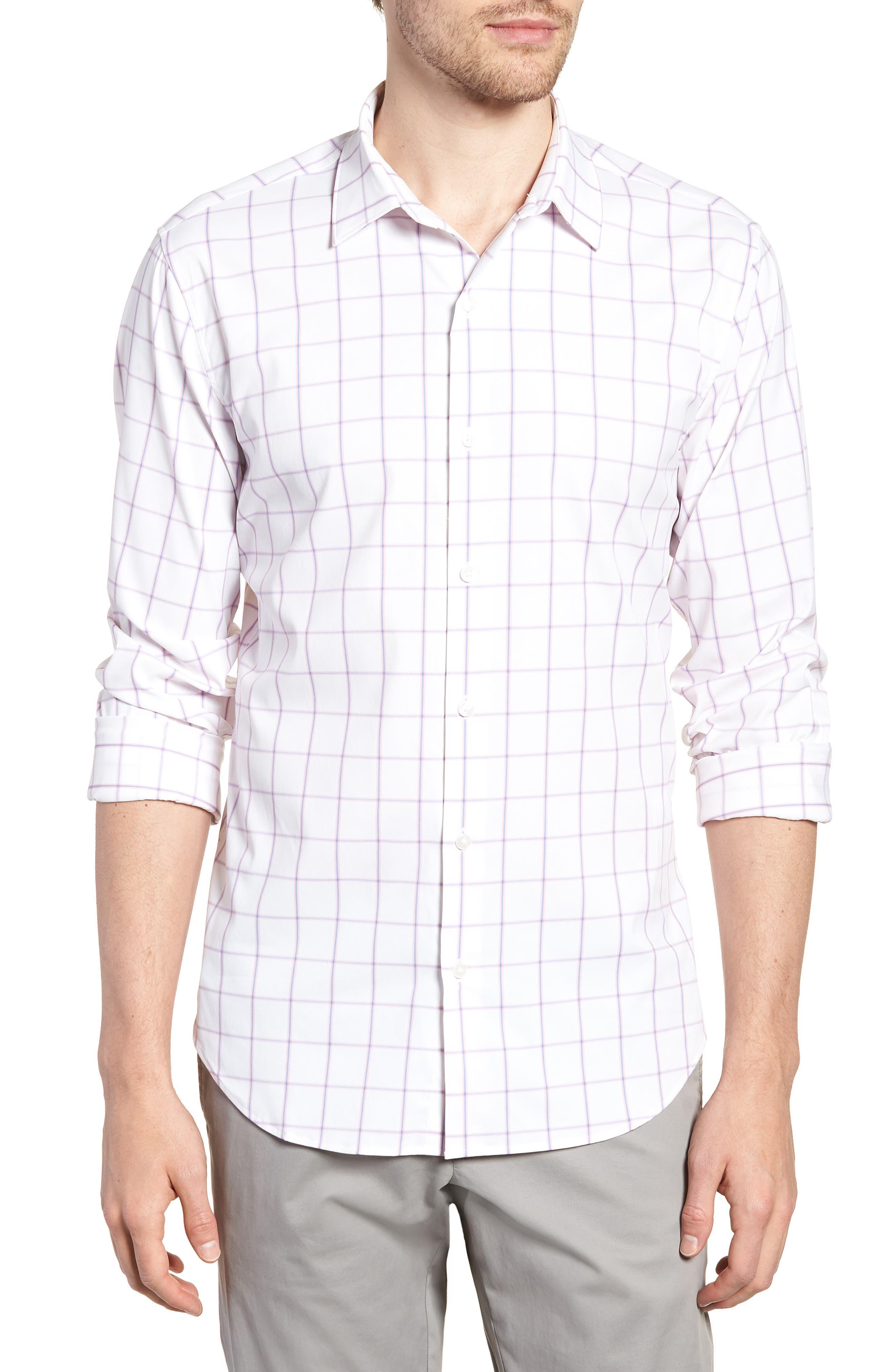 Slim Fit Check Performance Sport Shirt,                         Main,                         color, 100