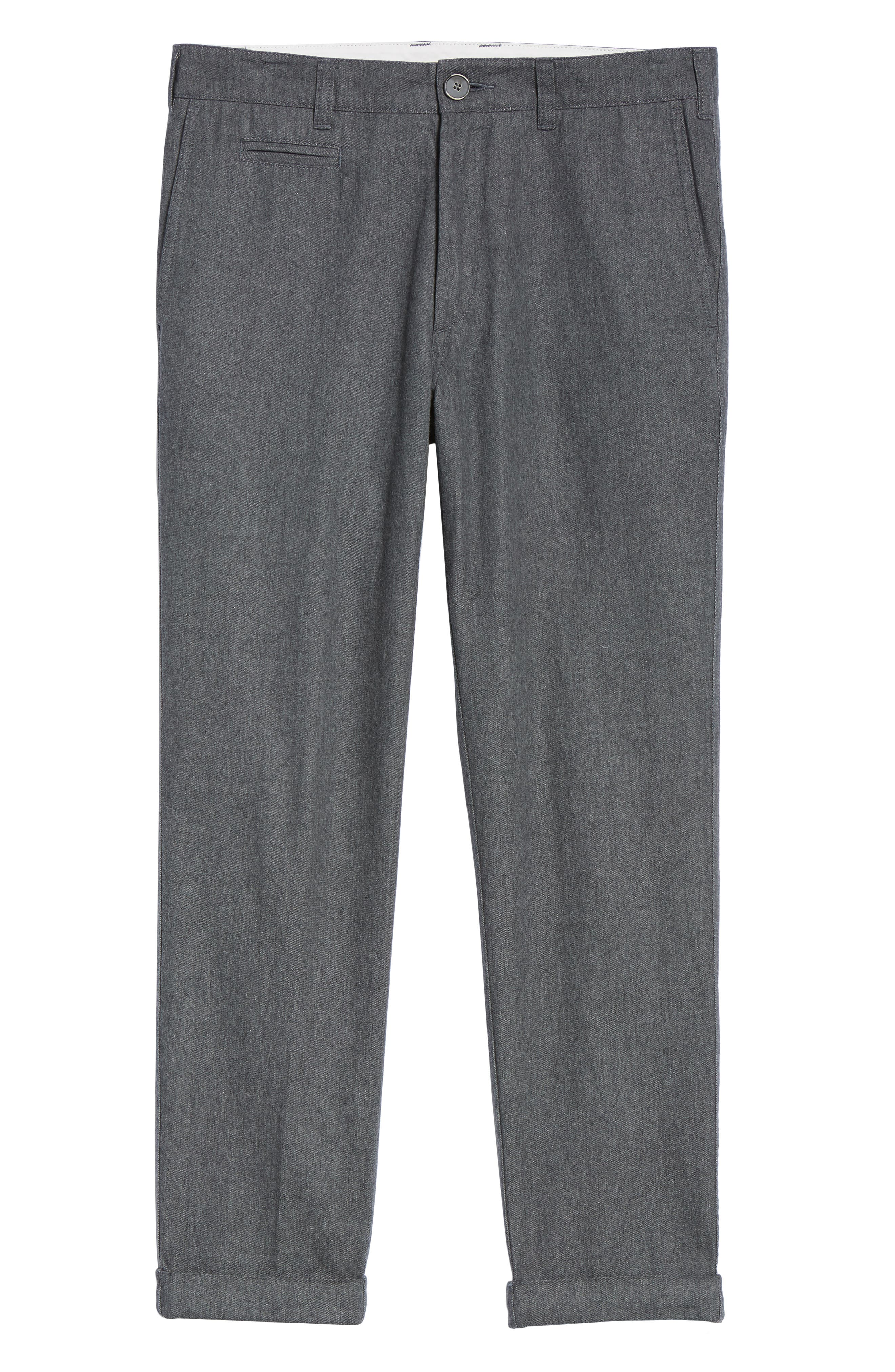 LIFE/AFTER/DENIM,                             Bixi Slim Cotton Twill Trousers,                             Alternate thumbnail 6, color,                             HEATHER CHARCOAL