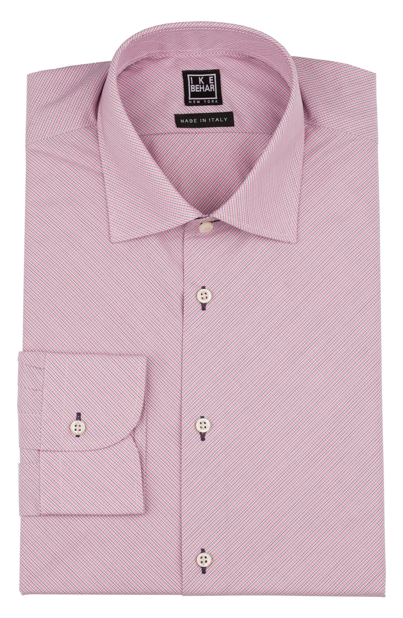 Regular Fit Check Dress Shirt,                             Alternate thumbnail 5, color,                             PINK