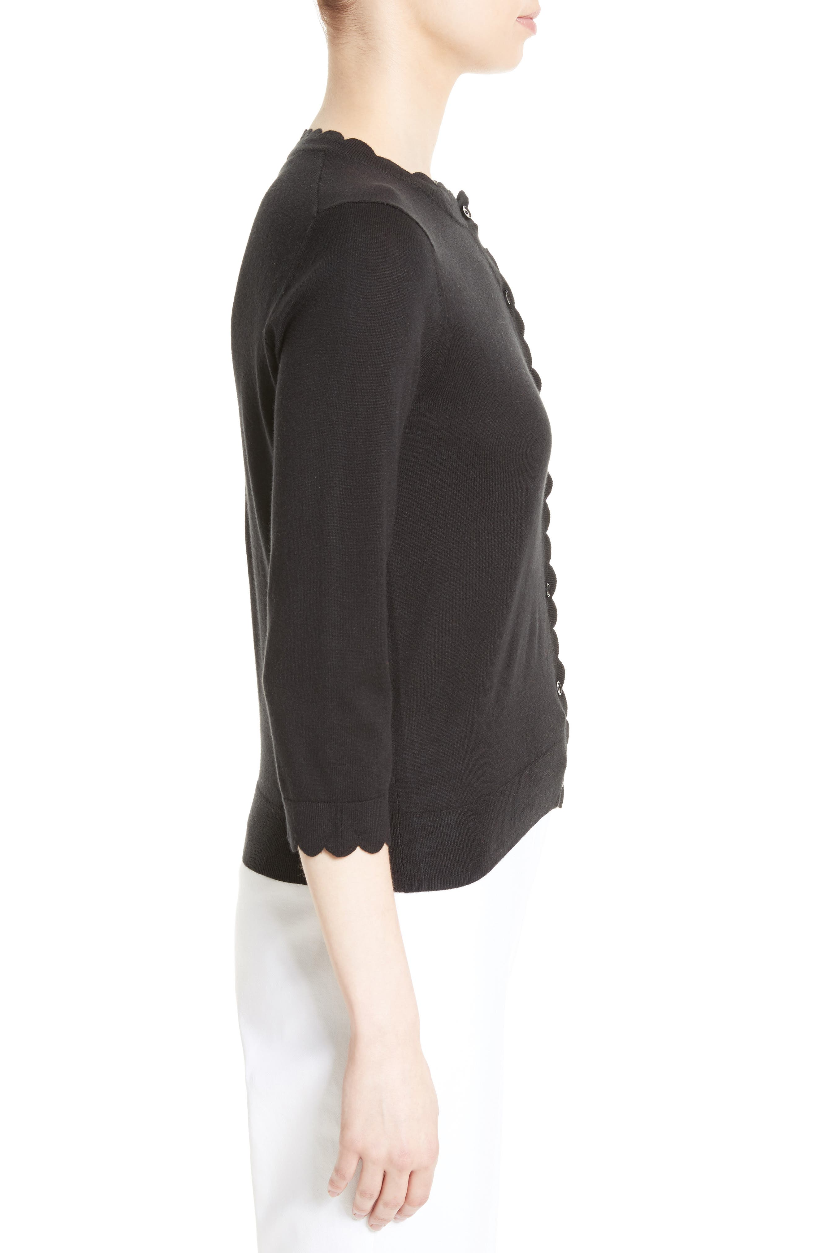 scallop silk blend cardigan,                             Alternate thumbnail 3, color,                             BLACK