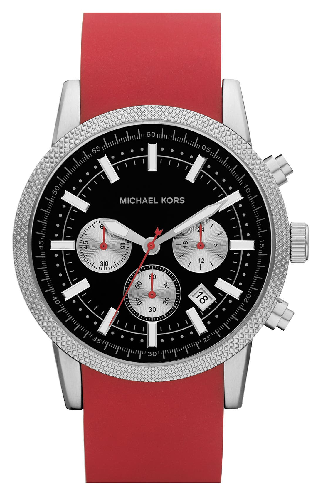 Michael Kors 'Scout' Chronograph Silicone Strap Watch, 43mm,                             Main thumbnail 4, color,