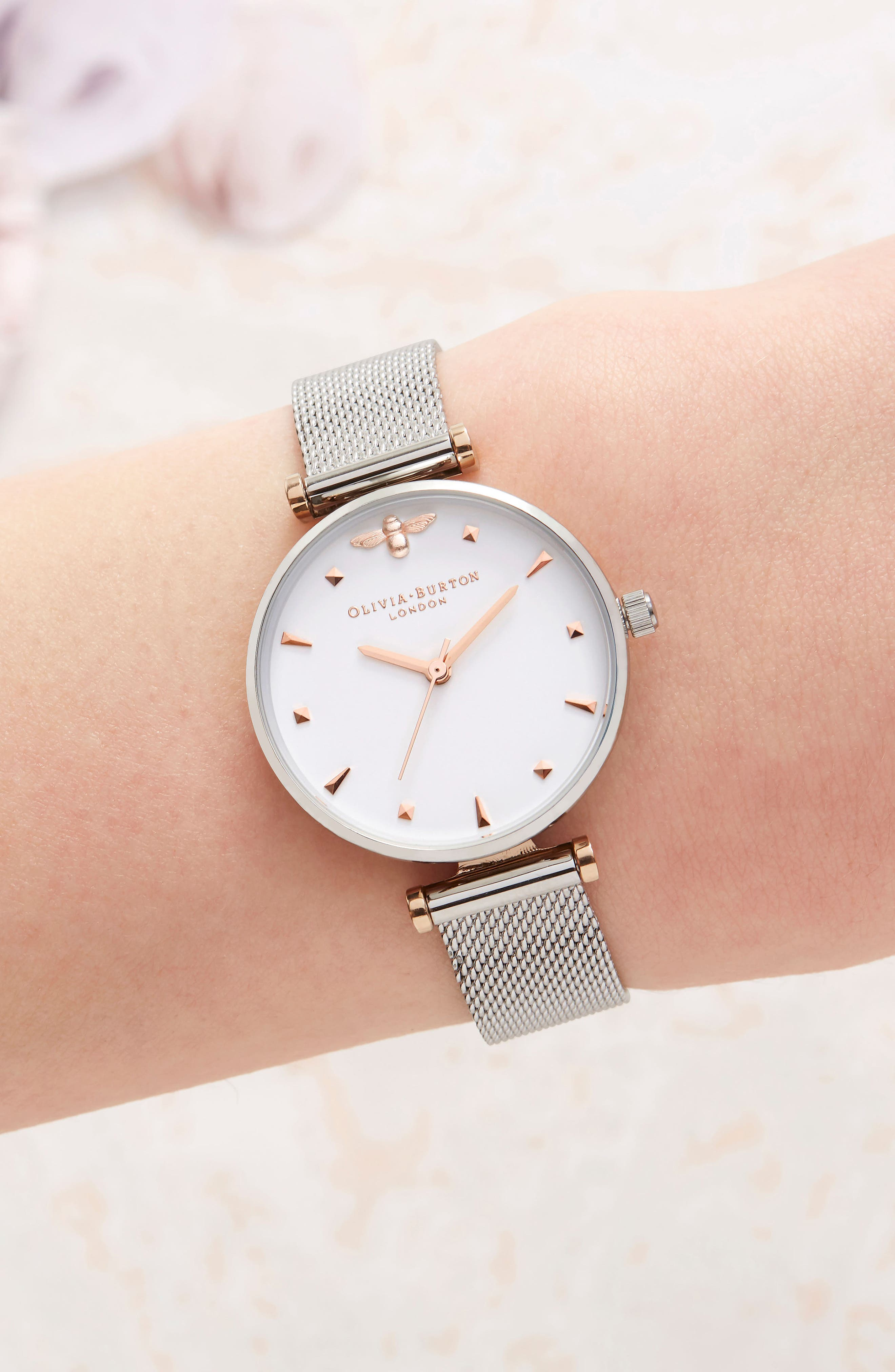 Queen Bee Mesh Strap Watch, 30mm,                             Alternate thumbnail 2, color,                             SILVER/ WHITE/ SILVER