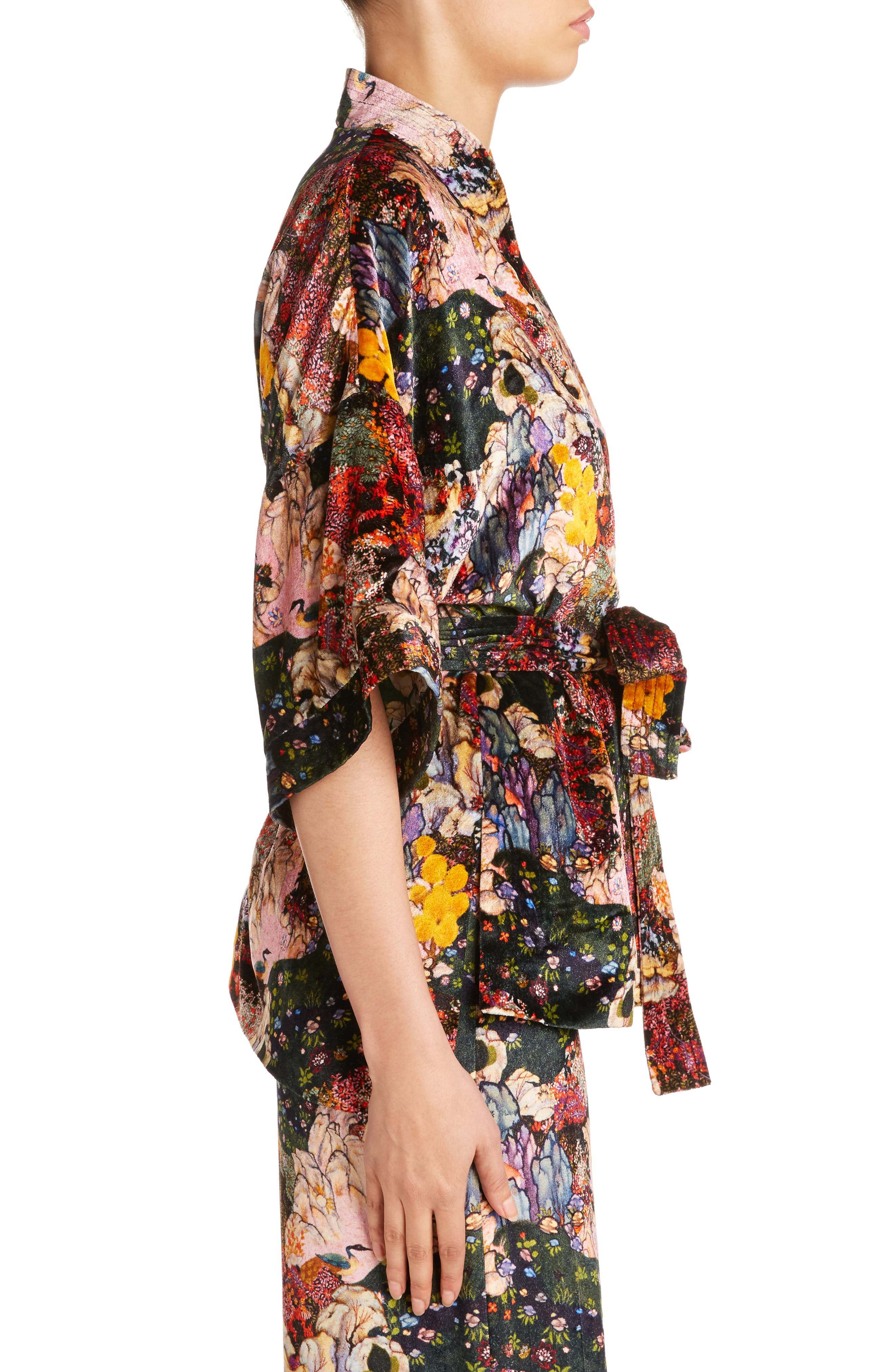 Zeta Floral Print Velvet Kimono Wrap Jacket,                             Alternate thumbnail 3, color,                             650