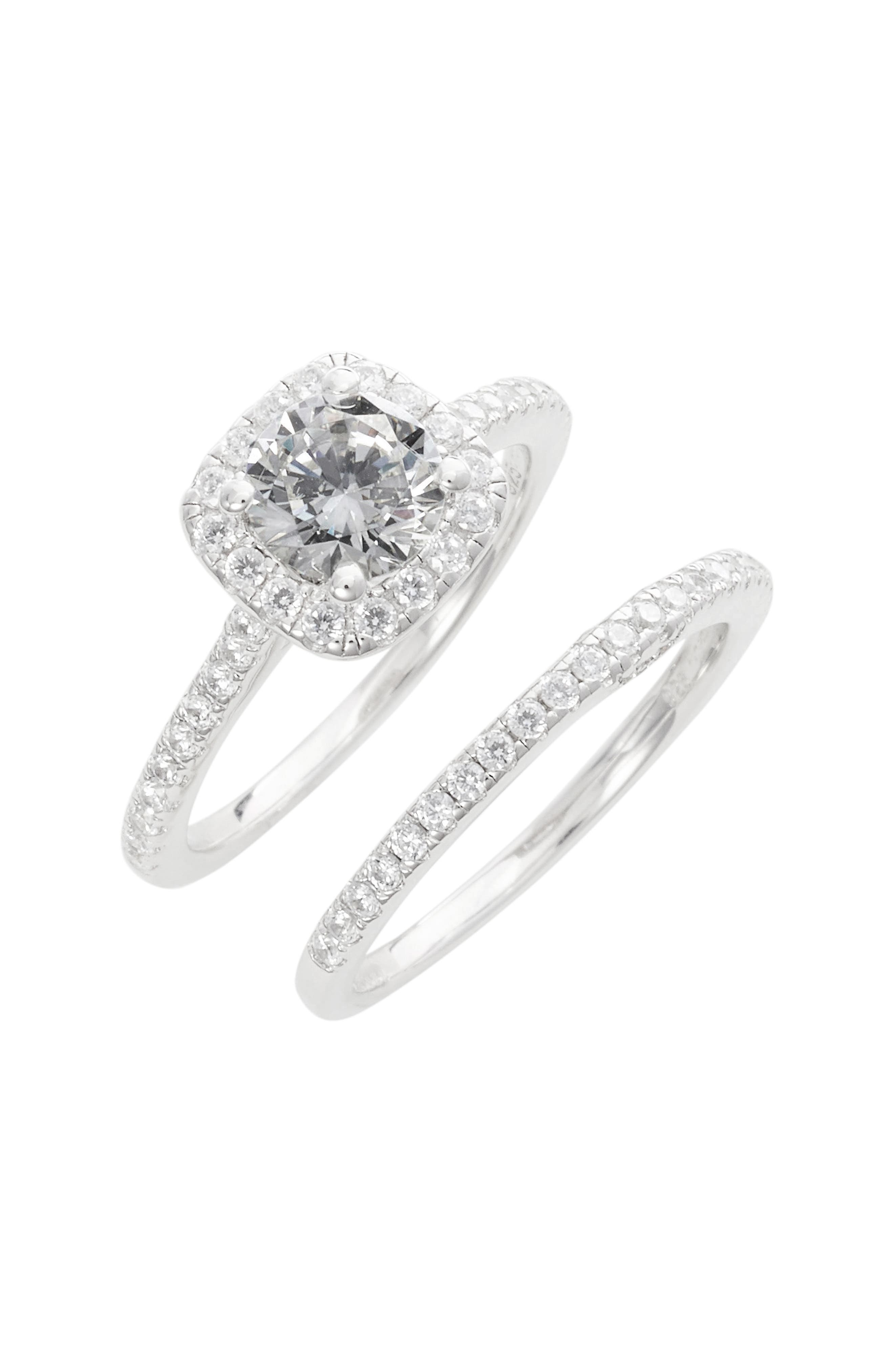 Simulated Diamond Engagement Ring & Band,                         Main,                         color, SILVER