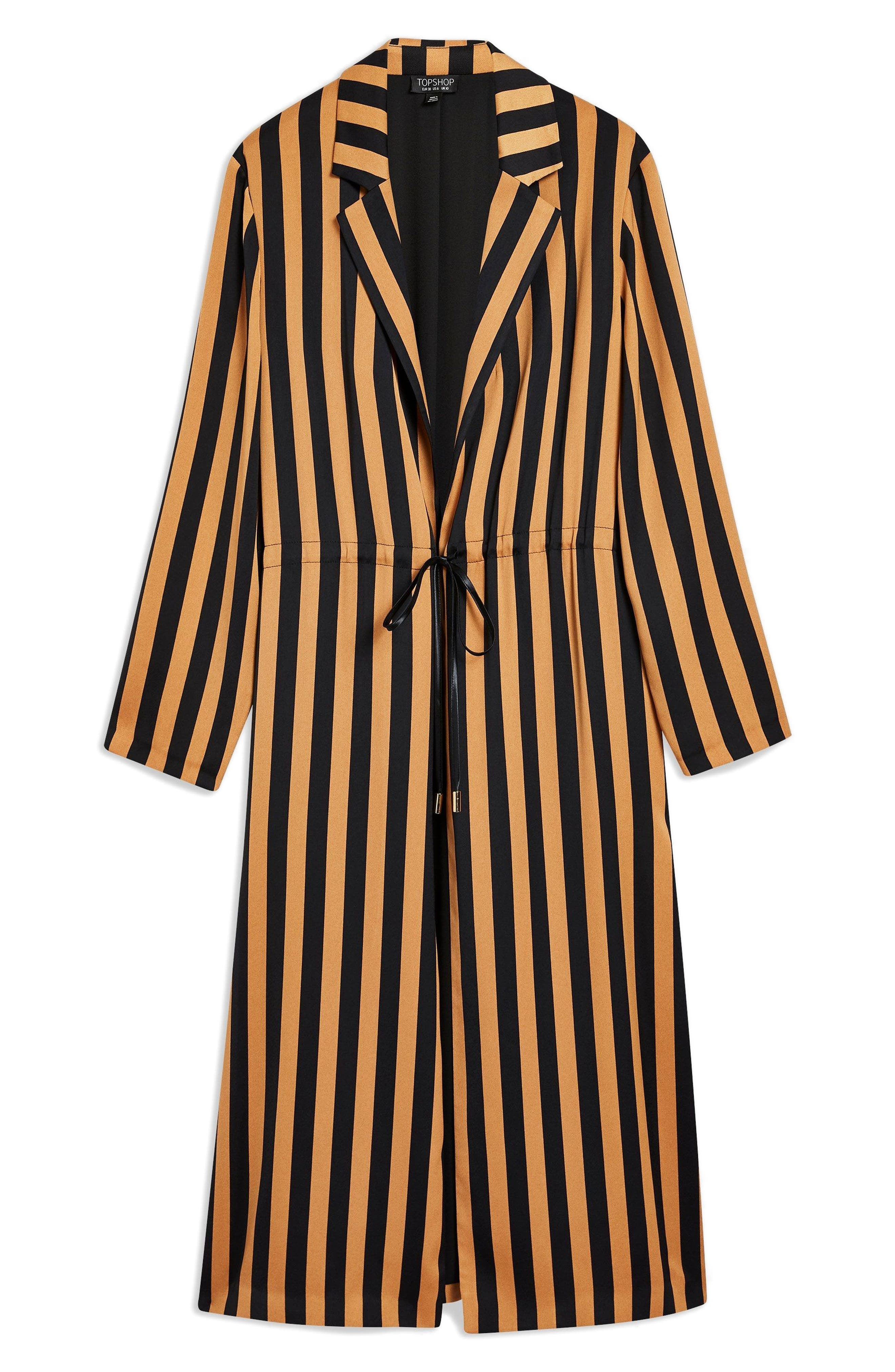 TOPSHOP,                             Stripe Duster Jacket,                             Alternate thumbnail 4, color,                             201