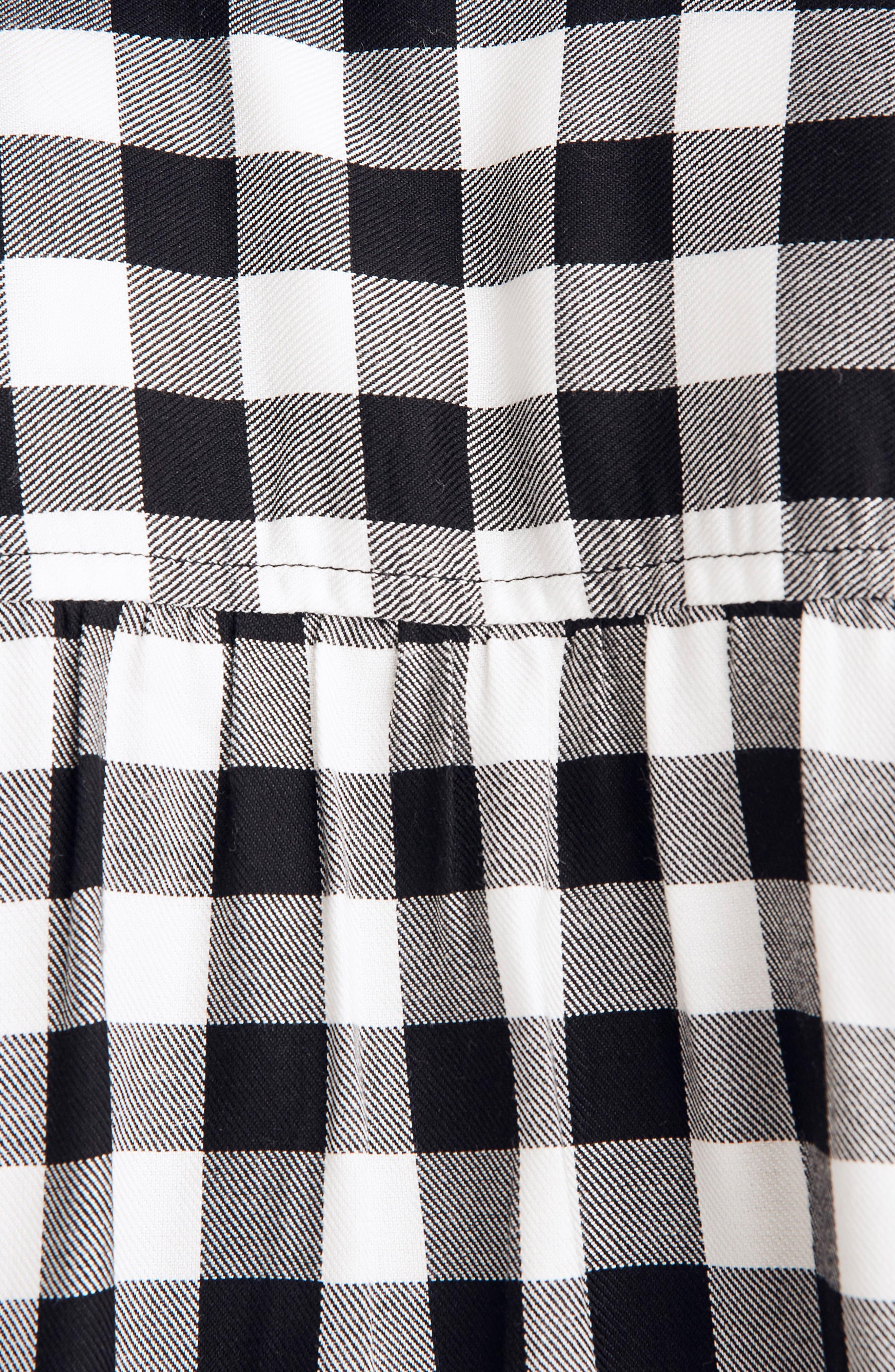 Buffalo Check Wrap Front Shirt,                             Alternate thumbnail 4, color,                             TRUE BLACK