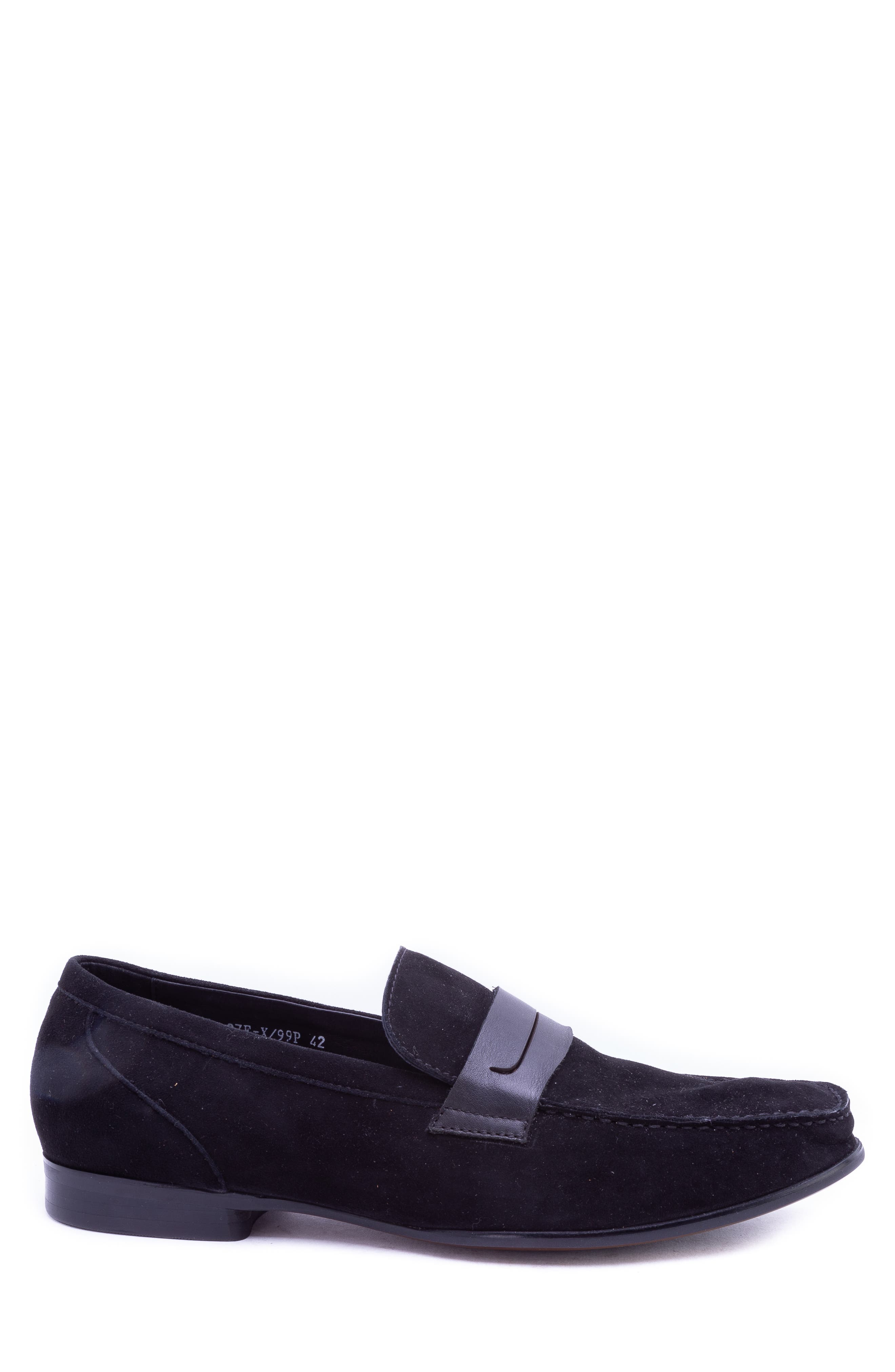 Opie Penny Loafer,                             Alternate thumbnail 3, color,                             BLACK SUEDE/ LEATHER