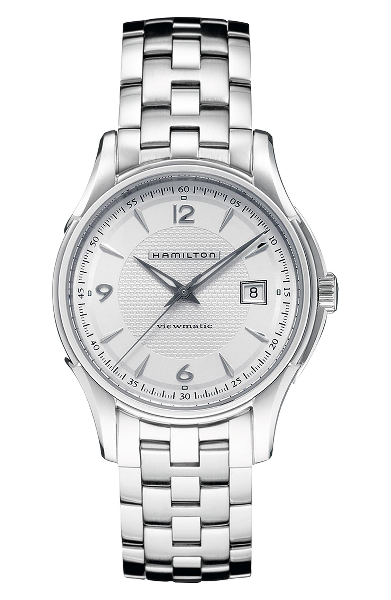 Jazzmaster Viewmatic Auto Bracelet Watch, 40mm,                             Main thumbnail 1, color,                             SILVER