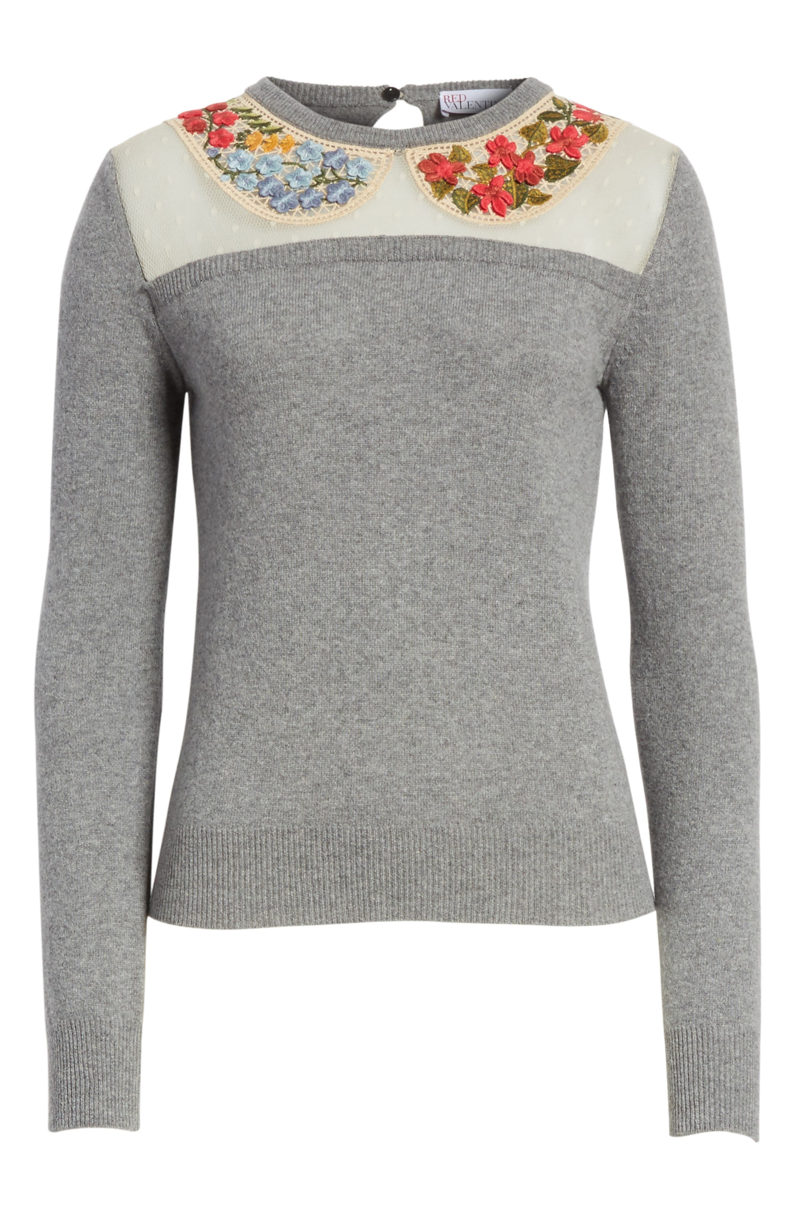 Macramé & Floral Embellished Wool Sweater,                             Alternate thumbnail 6, color,                             030