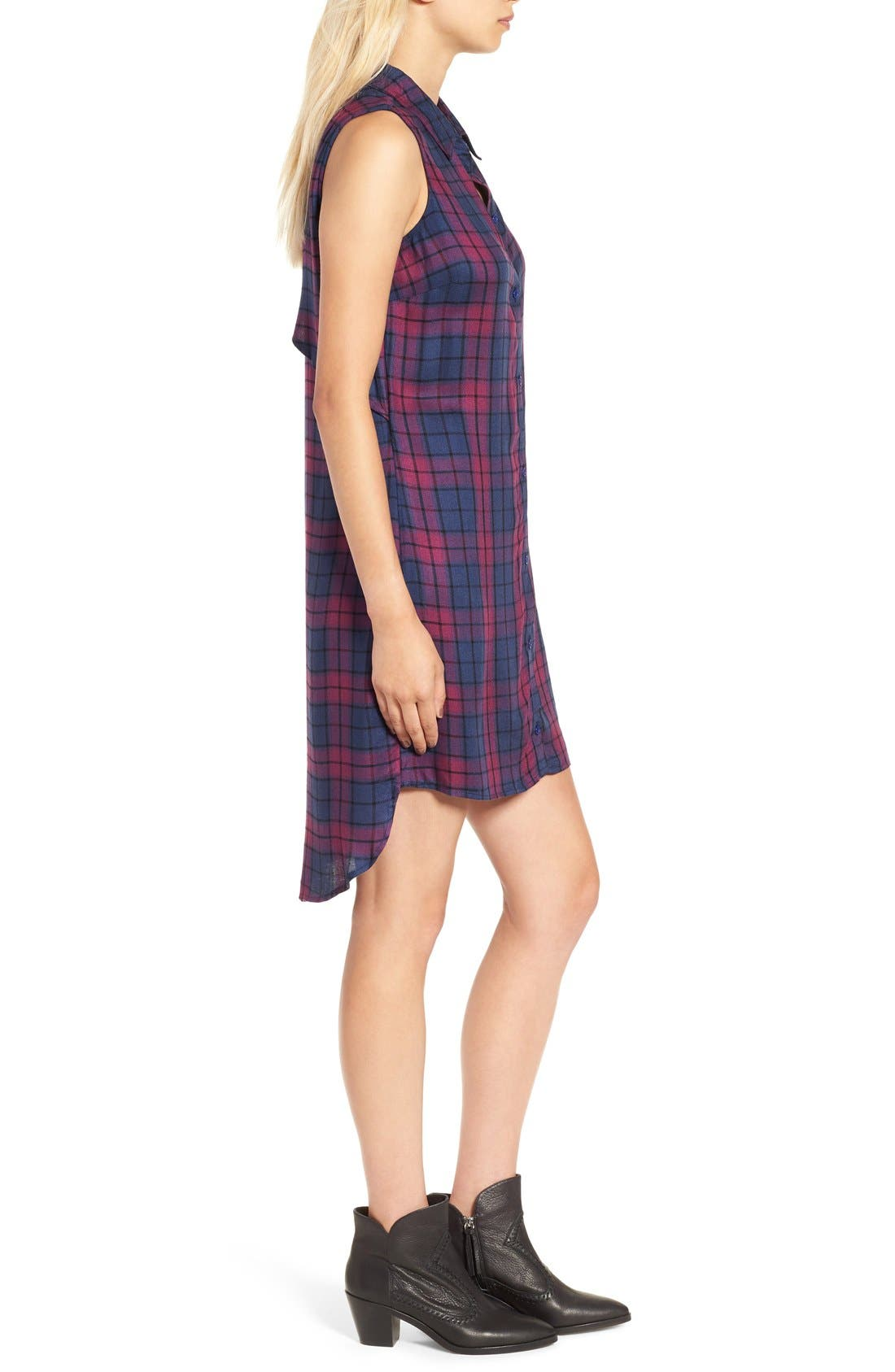 Sleeveless Plaid Shirtdress,                             Alternate thumbnail 4, color,                             460