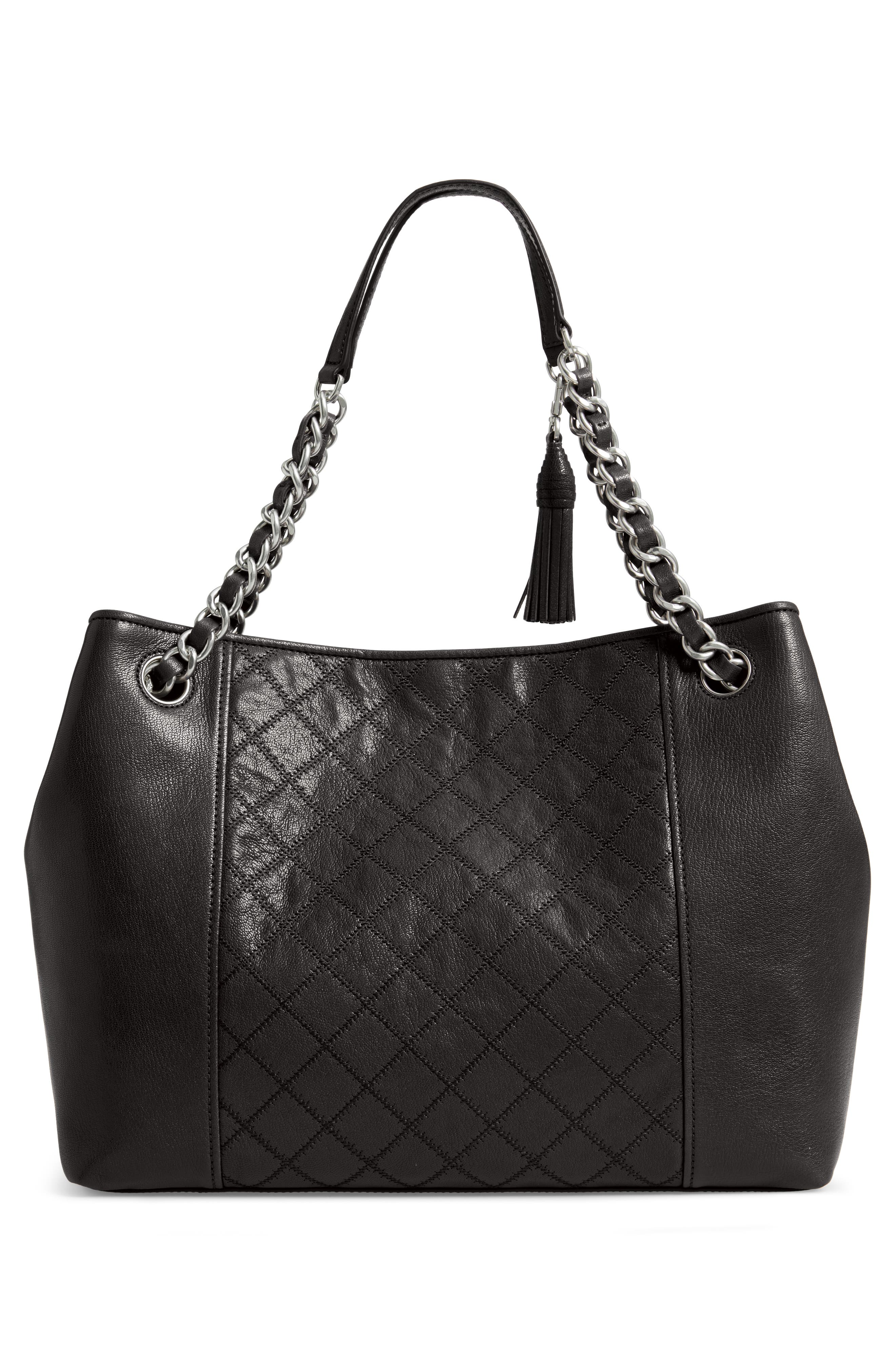 Fleming Distressed Leather Tote,                             Alternate thumbnail 3, color,                             BLACK