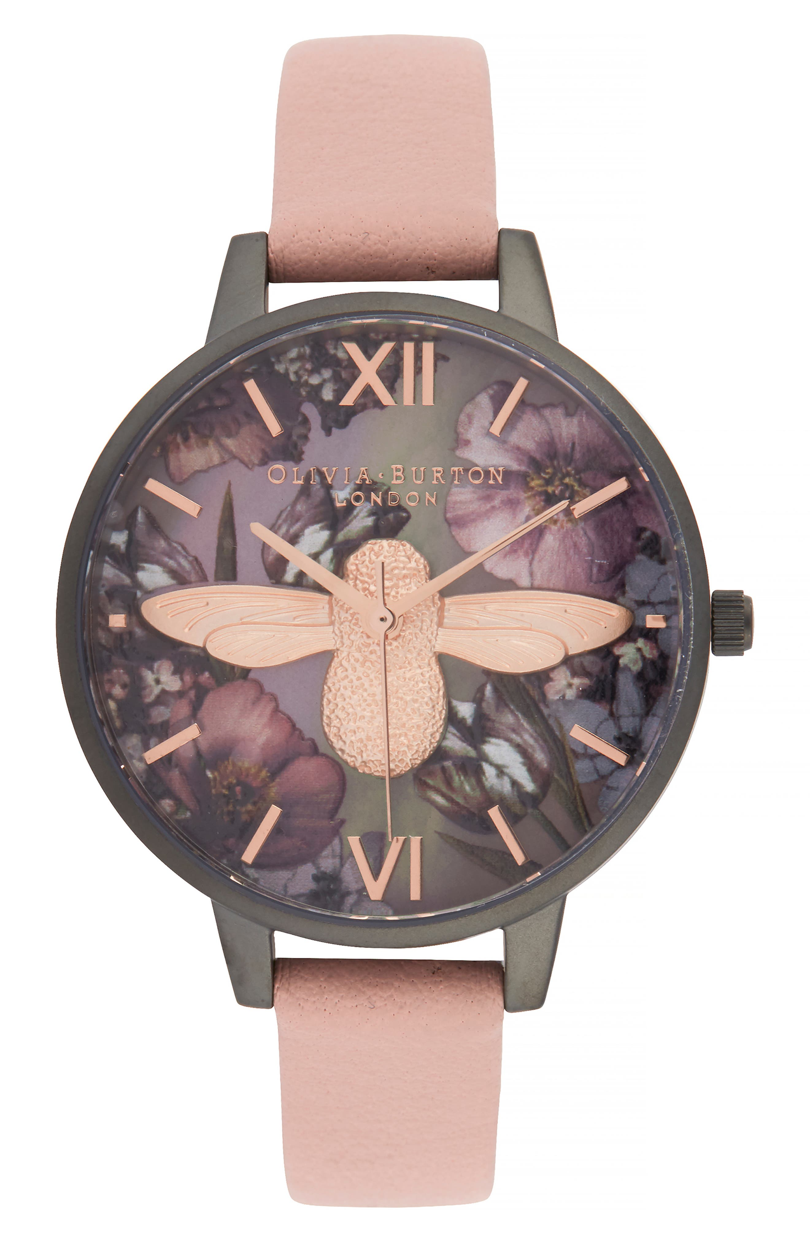 OLIVIA BURTON Twilight Lilac Mother-Of-Pearl Watch, 34 Mm in Dust Pink/Lil Floral/Gunmetal