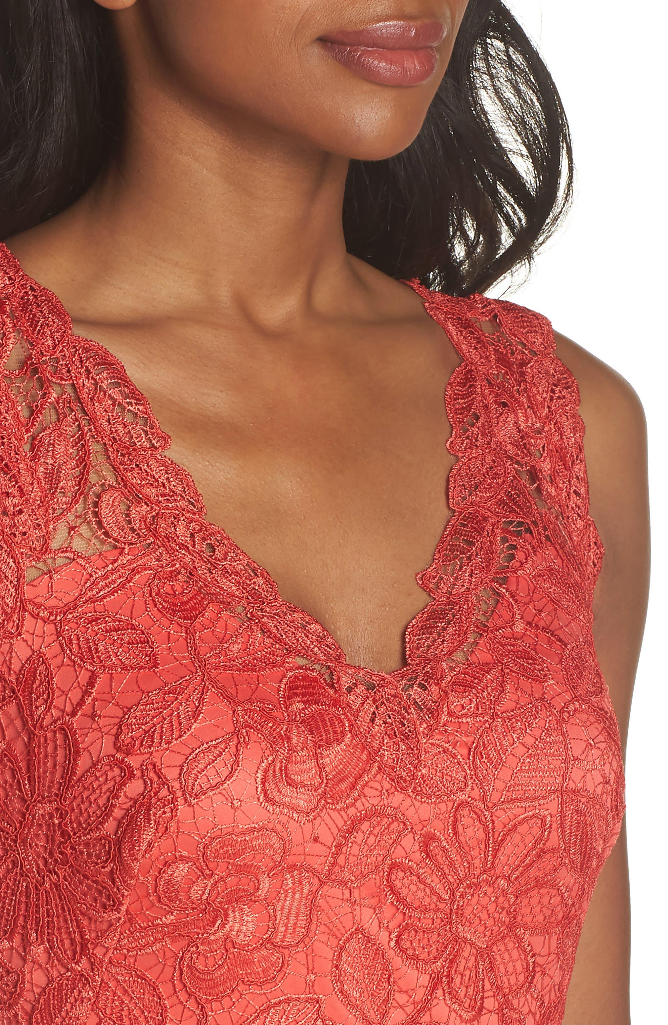 Floral Lace Trumpet Gown,                             Alternate thumbnail 4, color,                             610