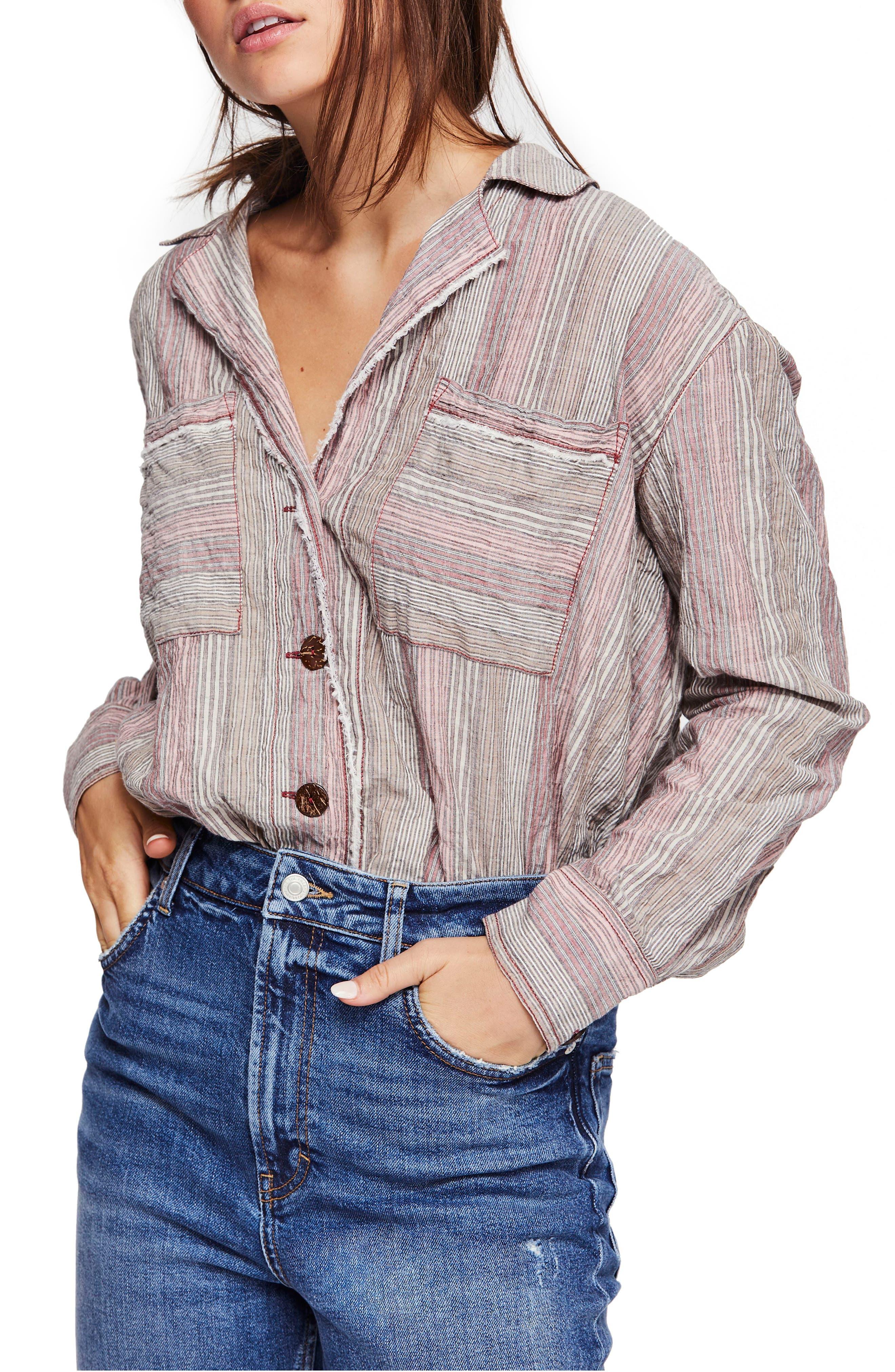 High Tide Multistripe Shirt, Main, color, SAND