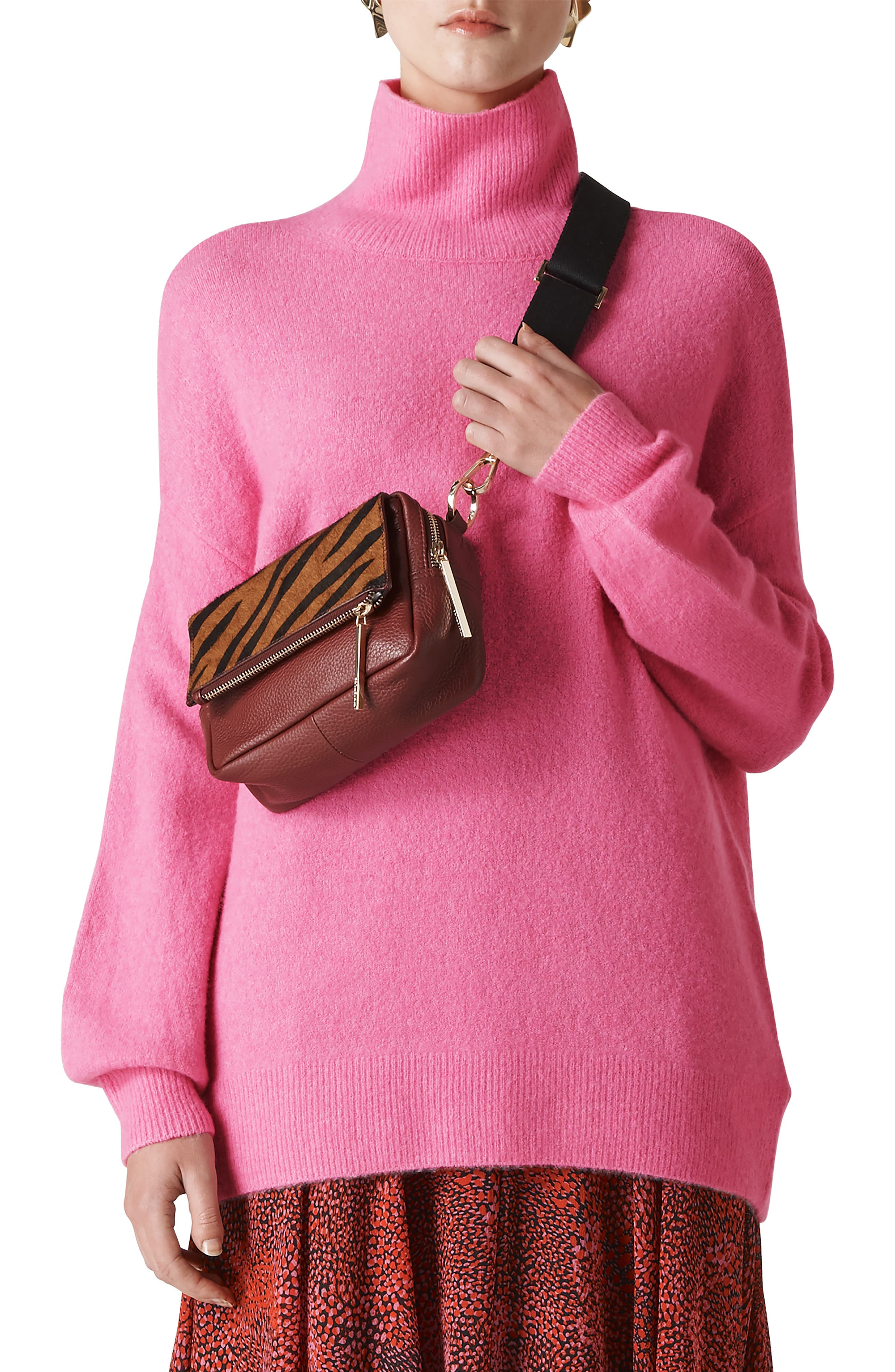 WHISTLES Oversize Slouchy Funnel Neck Sweater in Pink