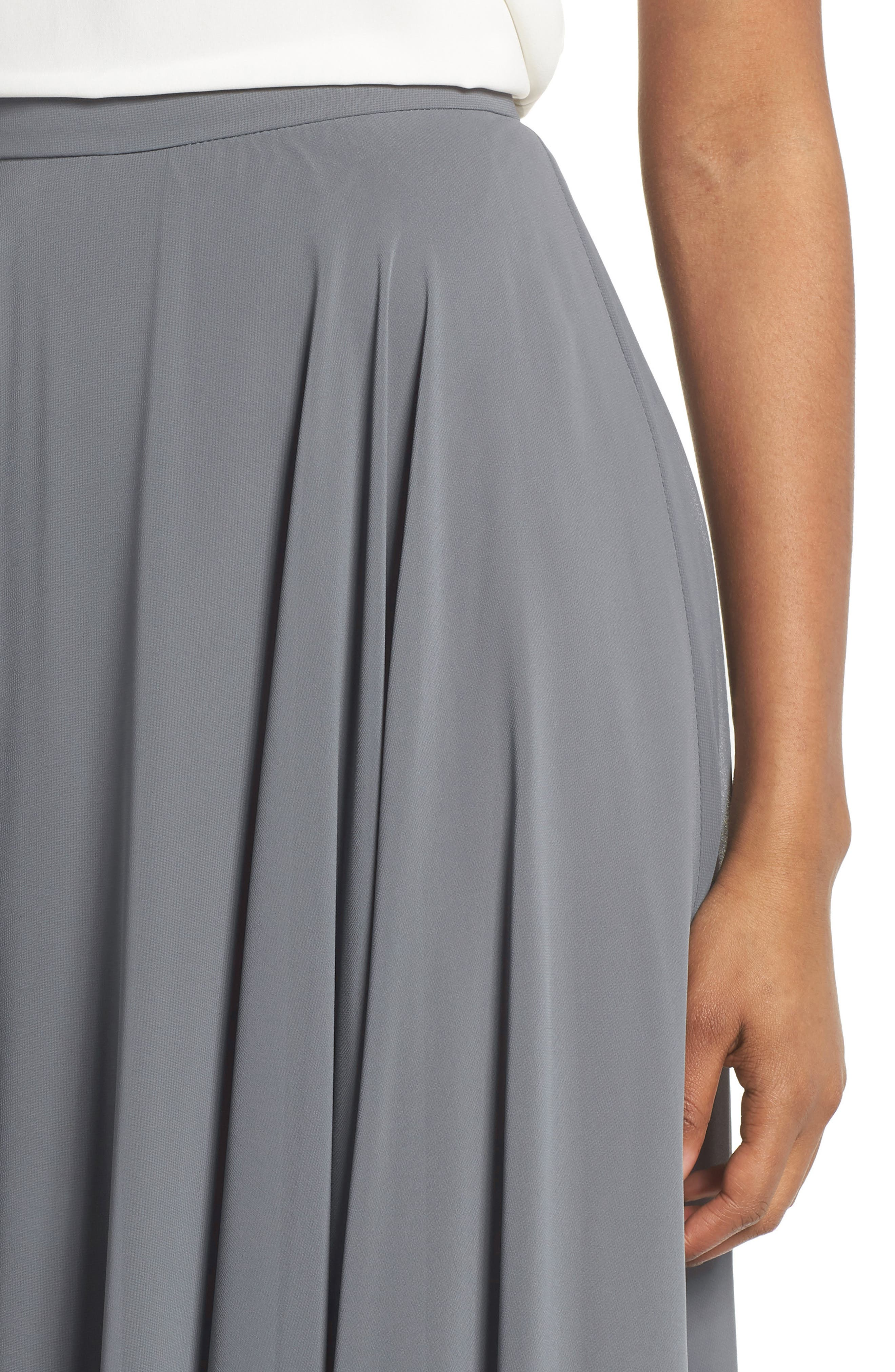 Hampton Long A-Line Chiffon Skirt,                             Alternate thumbnail 4, color,                             DENMARK BLUE