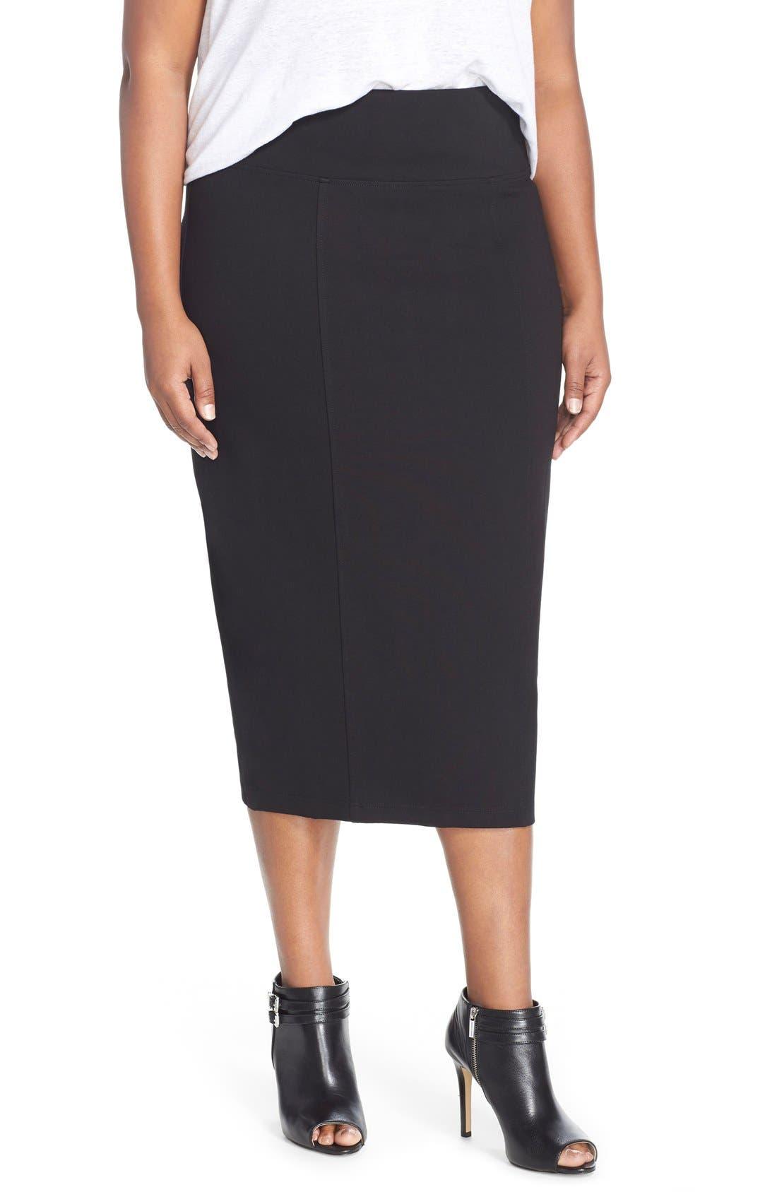 Ponte Pencil Skirt,                         Main,                         color, 001