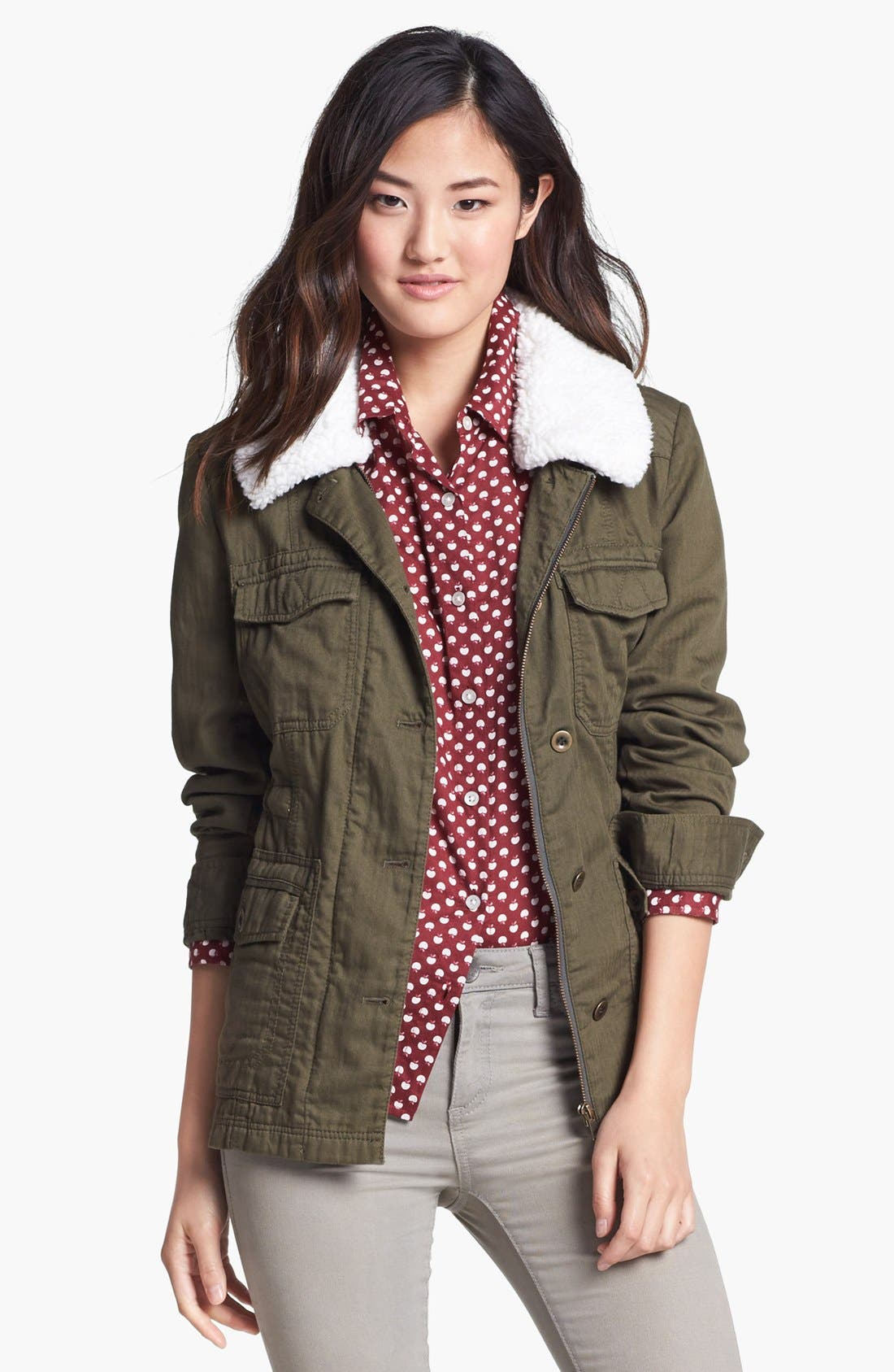 Removable Faux Shearling Collar Utility Jacket,                         Main,                         color, 300