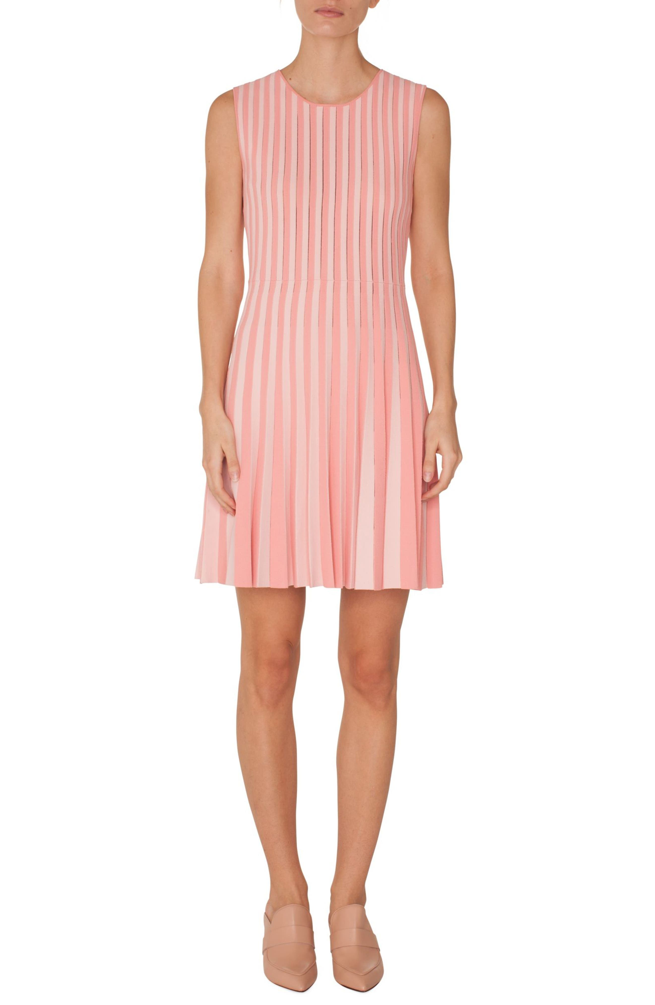 Stripe Pleated Dress,                             Main thumbnail 1, color,                             ROSE PINK-PEONY