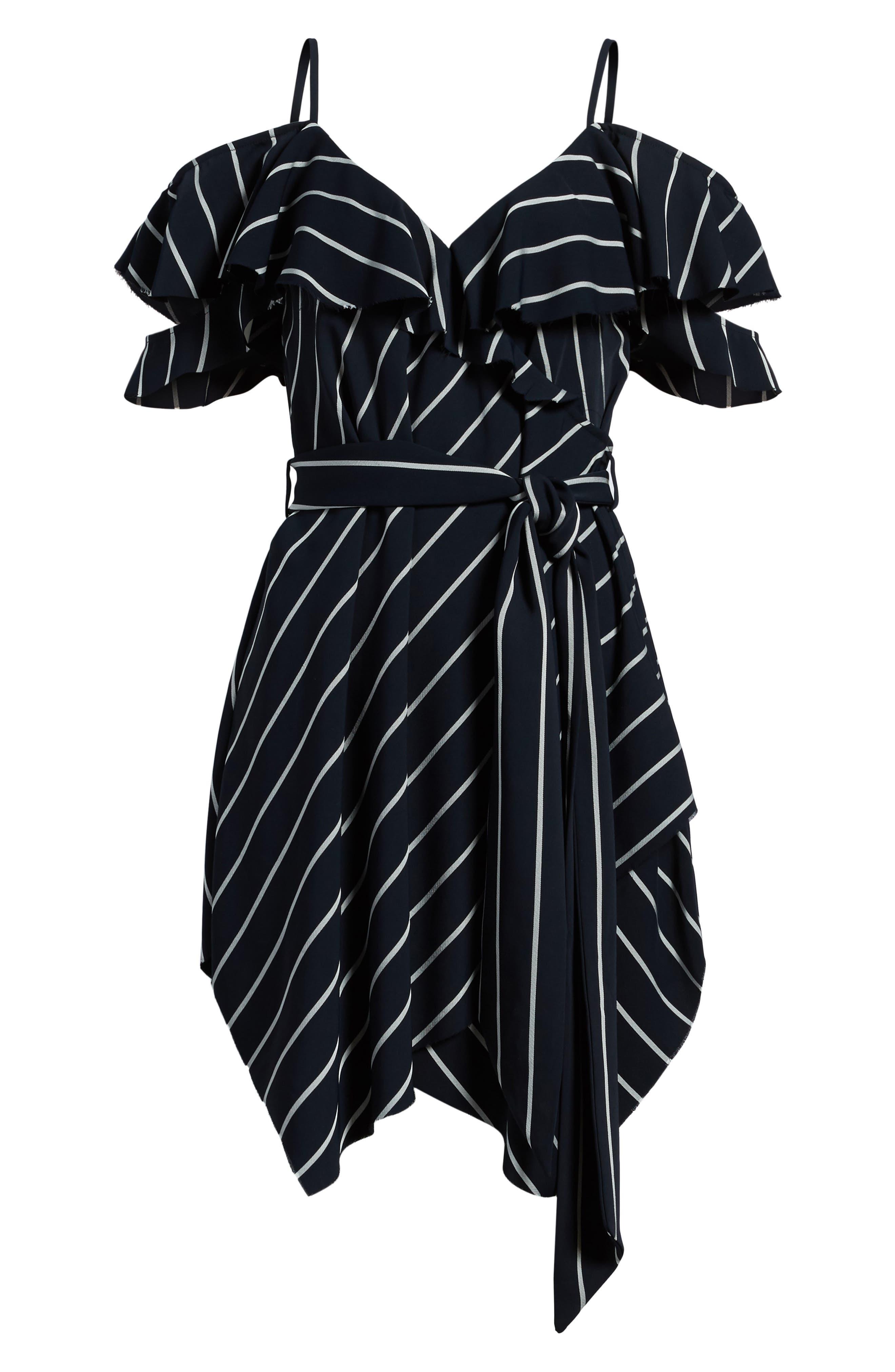 Pinstripe Ruffle Wrap Dress,                             Alternate thumbnail 7, color,