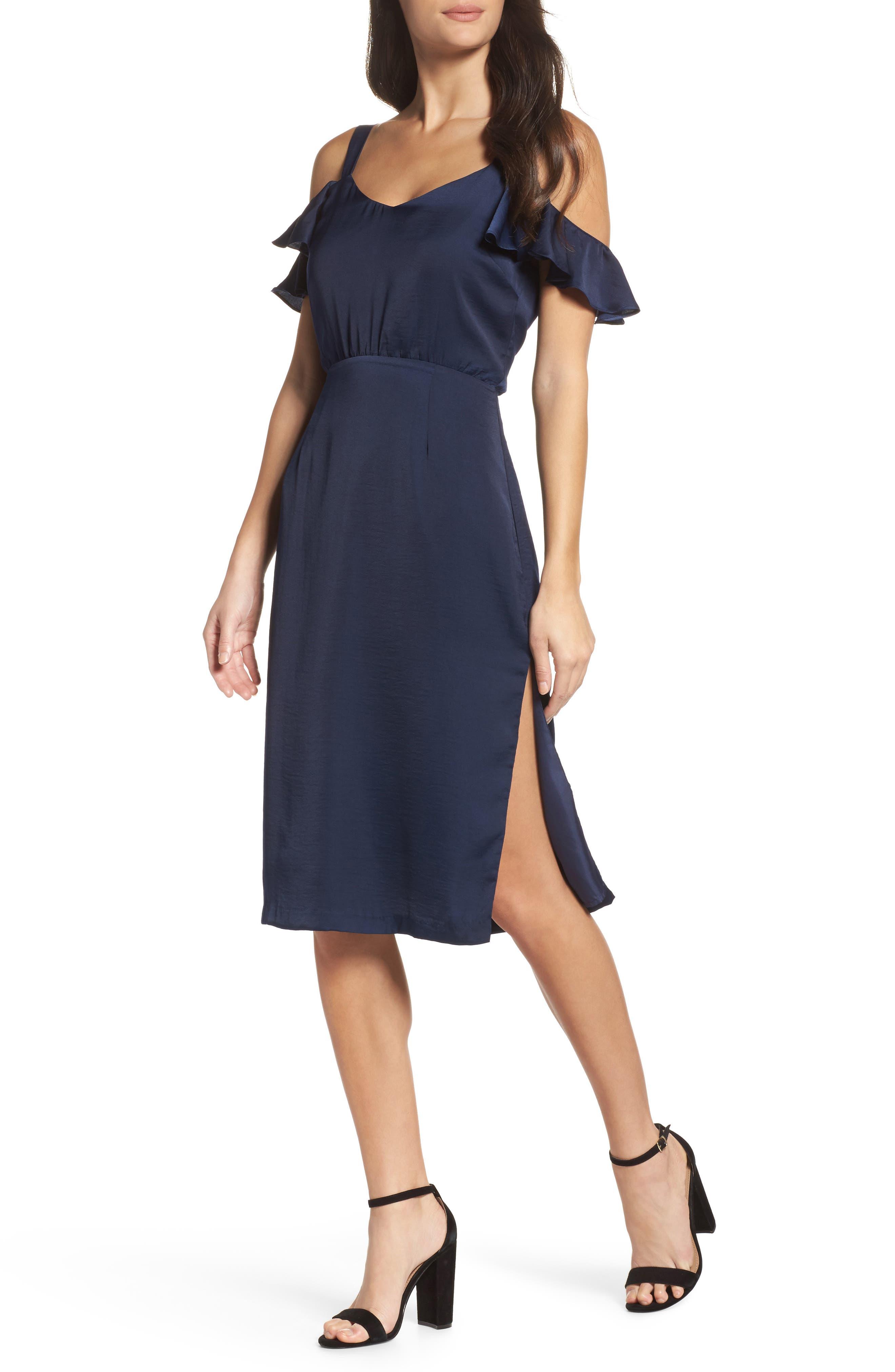 Cold Shoulder Midi Dress,                             Main thumbnail 1, color,                             018