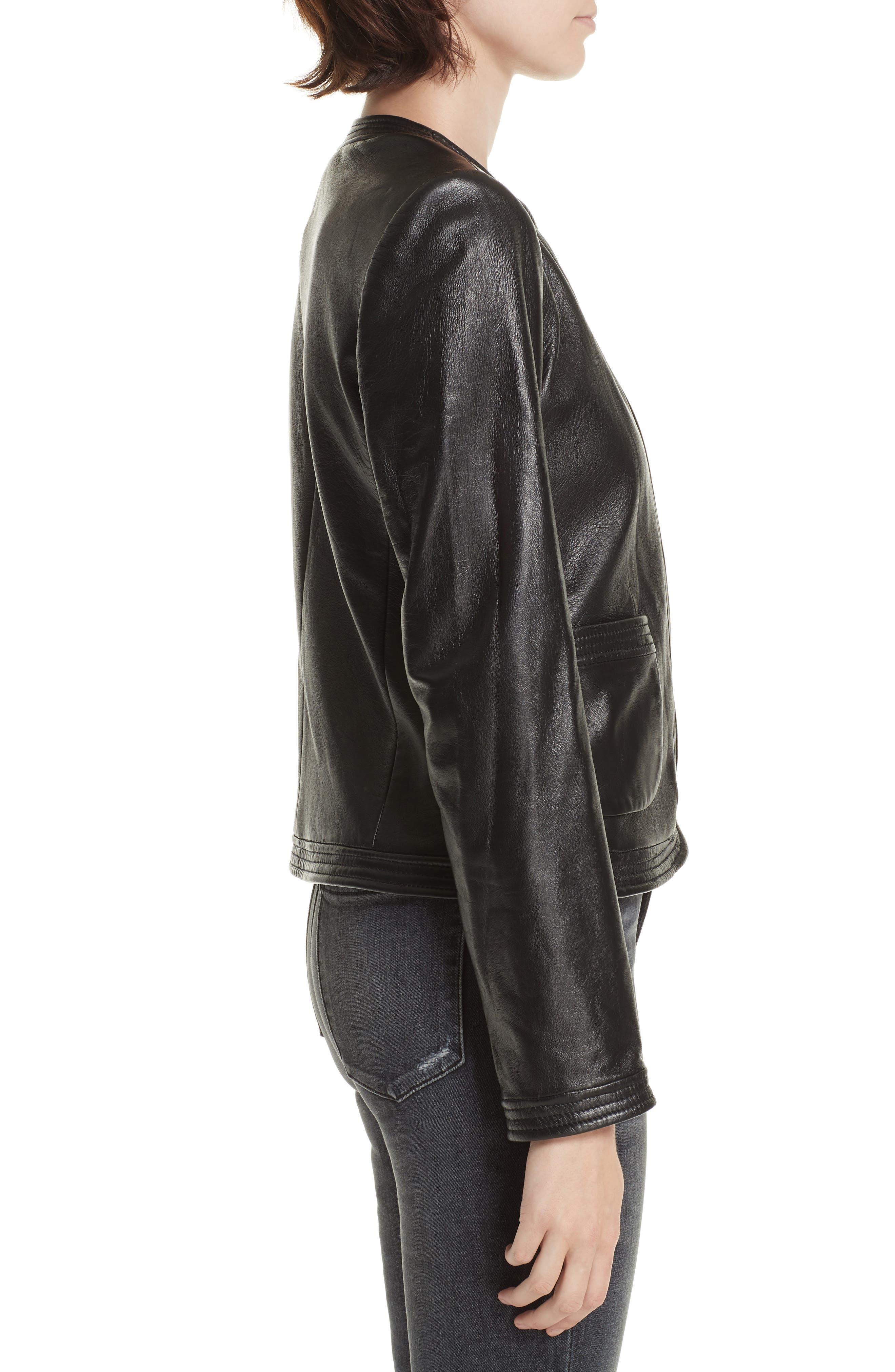 Leather Jacket,                             Alternate thumbnail 3, color,                             001