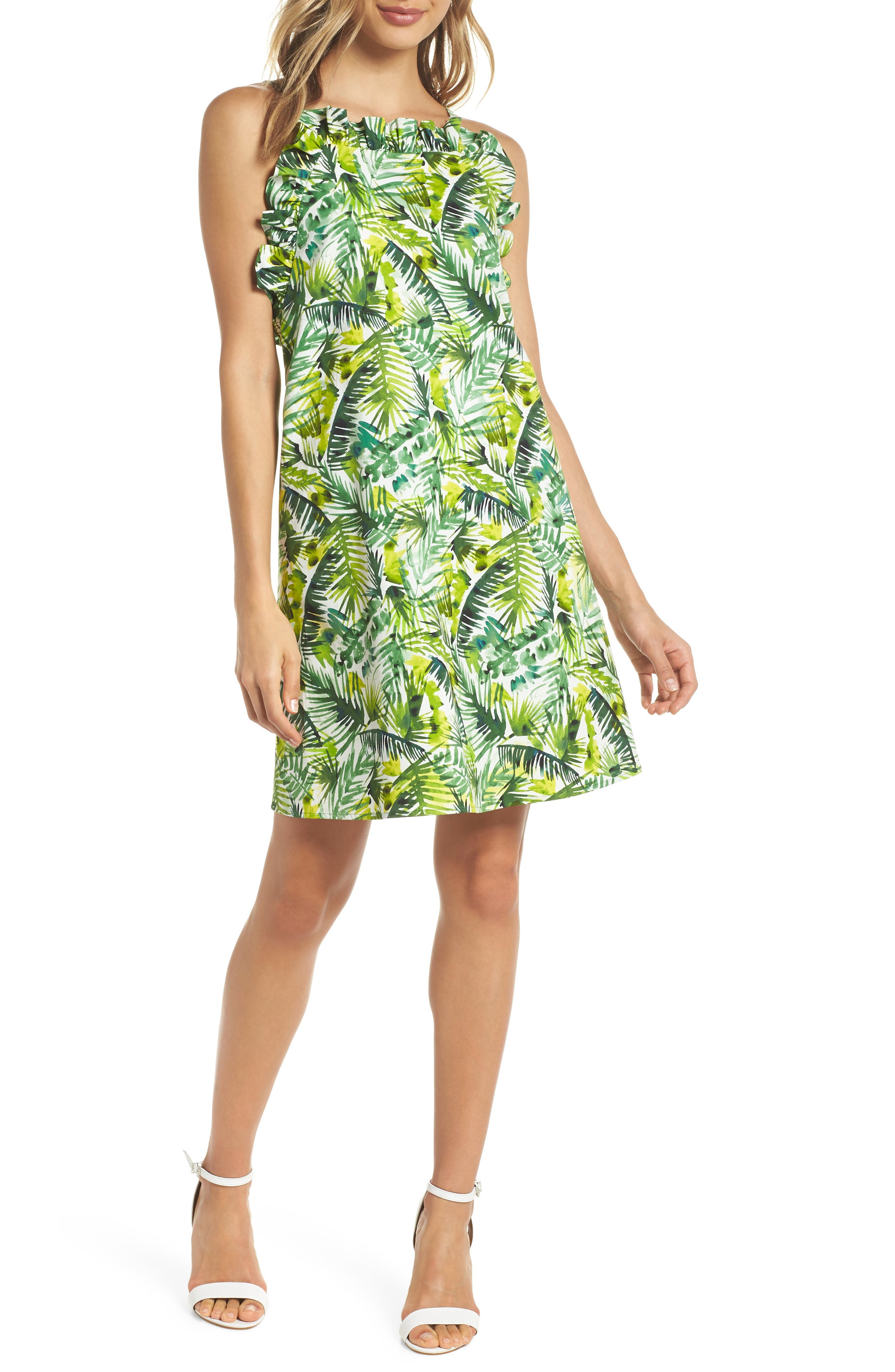 Ruffle Top Shift Dress,                         Main,                         color, SOFT WHITE/ GREEN