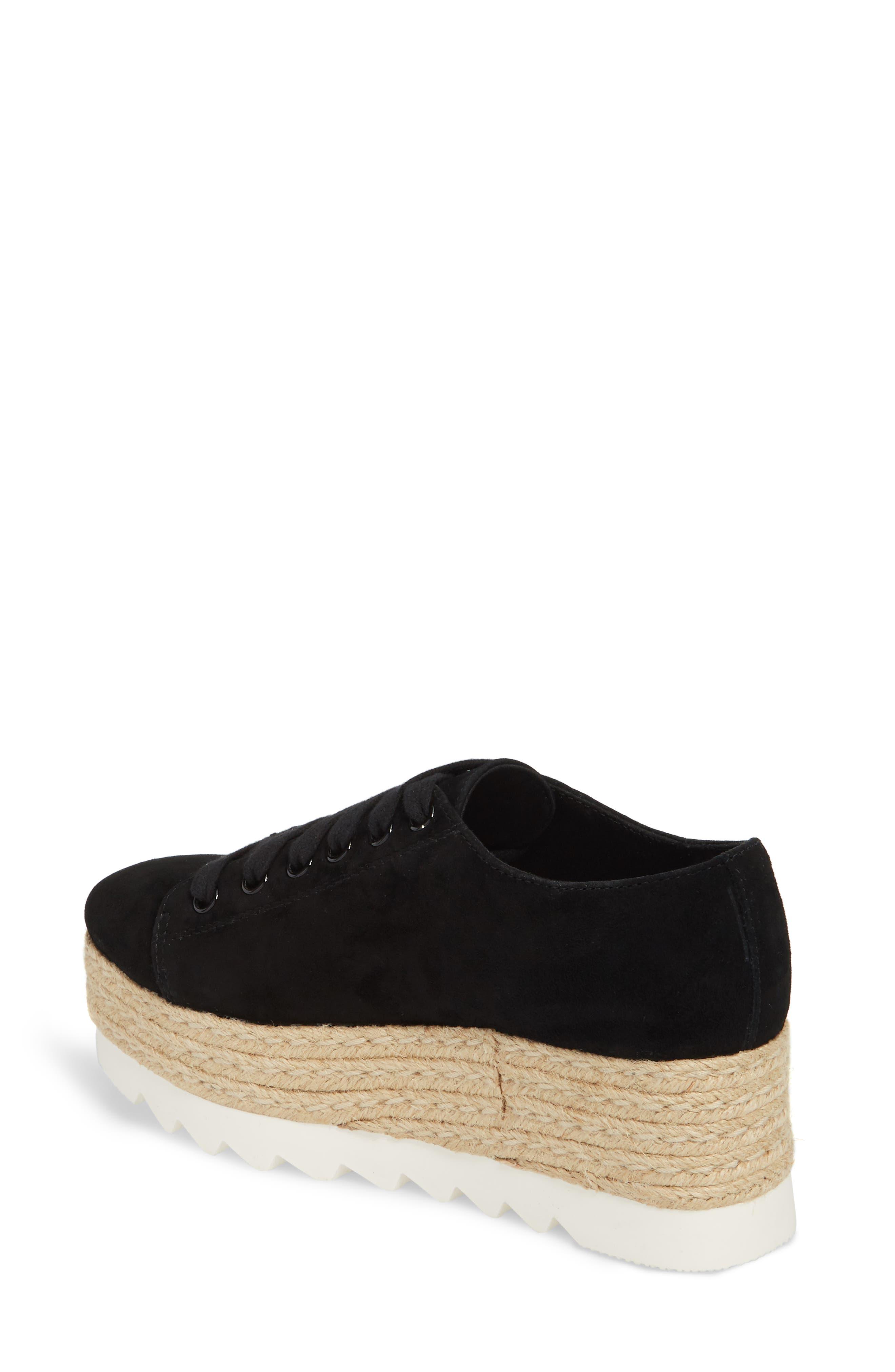 Karma Espadrille Platform Sneaker,                             Alternate thumbnail 2, color,                             BLACK SUED