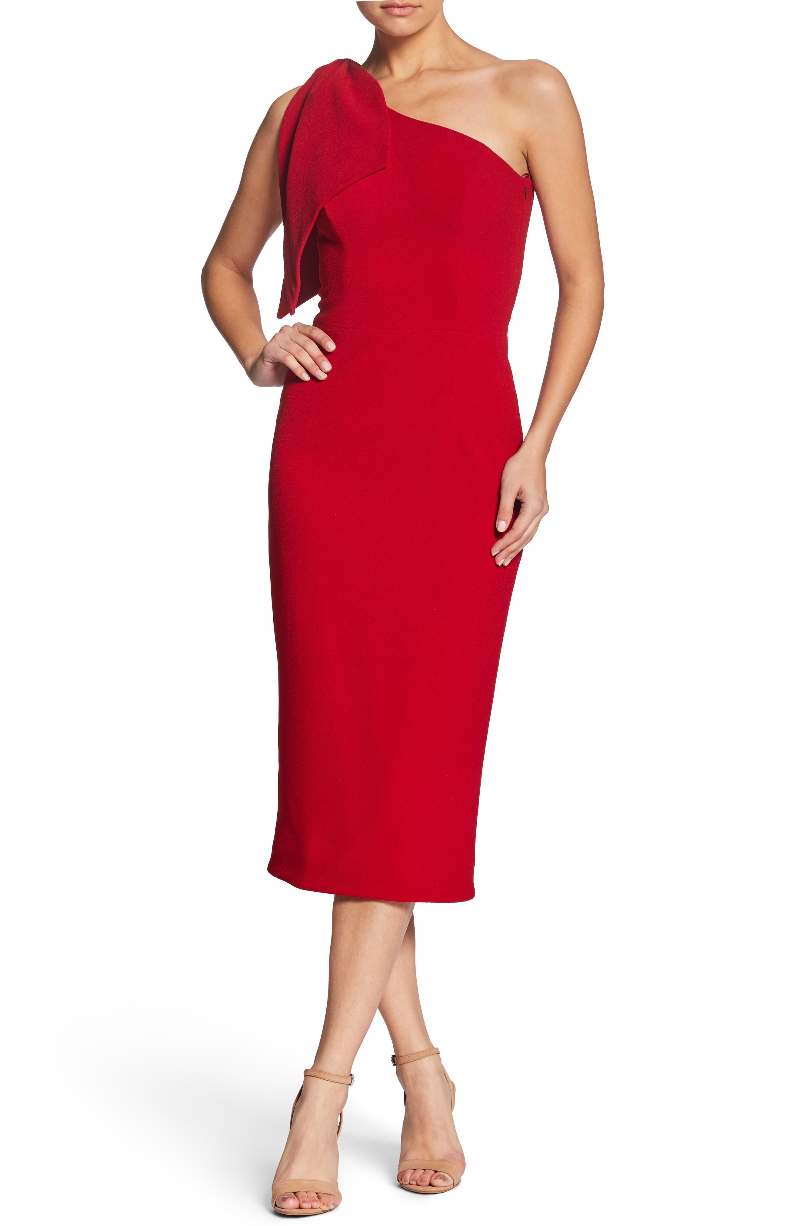 Dress The Population Tiffany One-Shoulder Midi Dress, Red