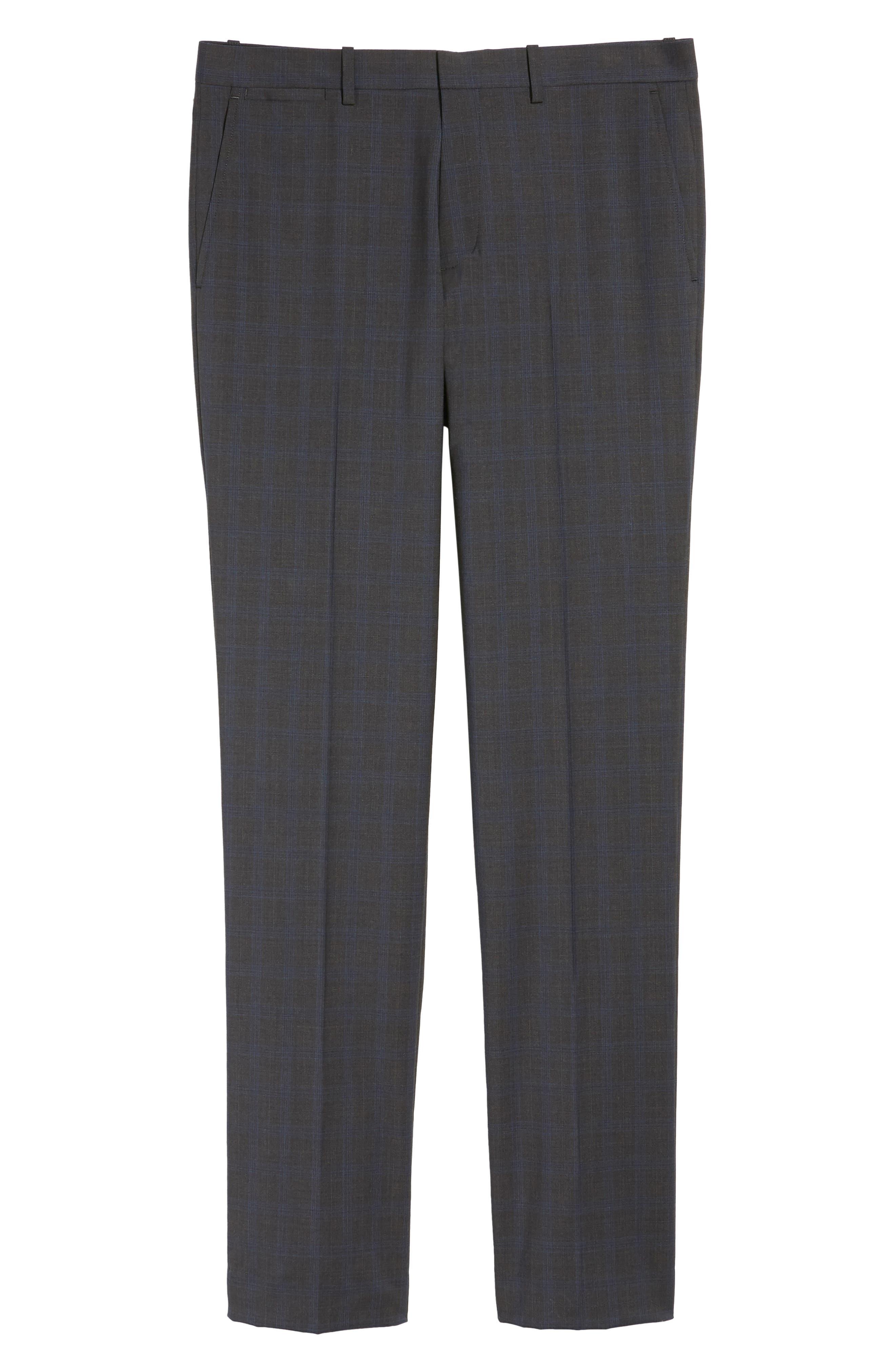Marlo Trim Fit Tonal Plaid Trousers,                             Alternate thumbnail 6, color,                             053