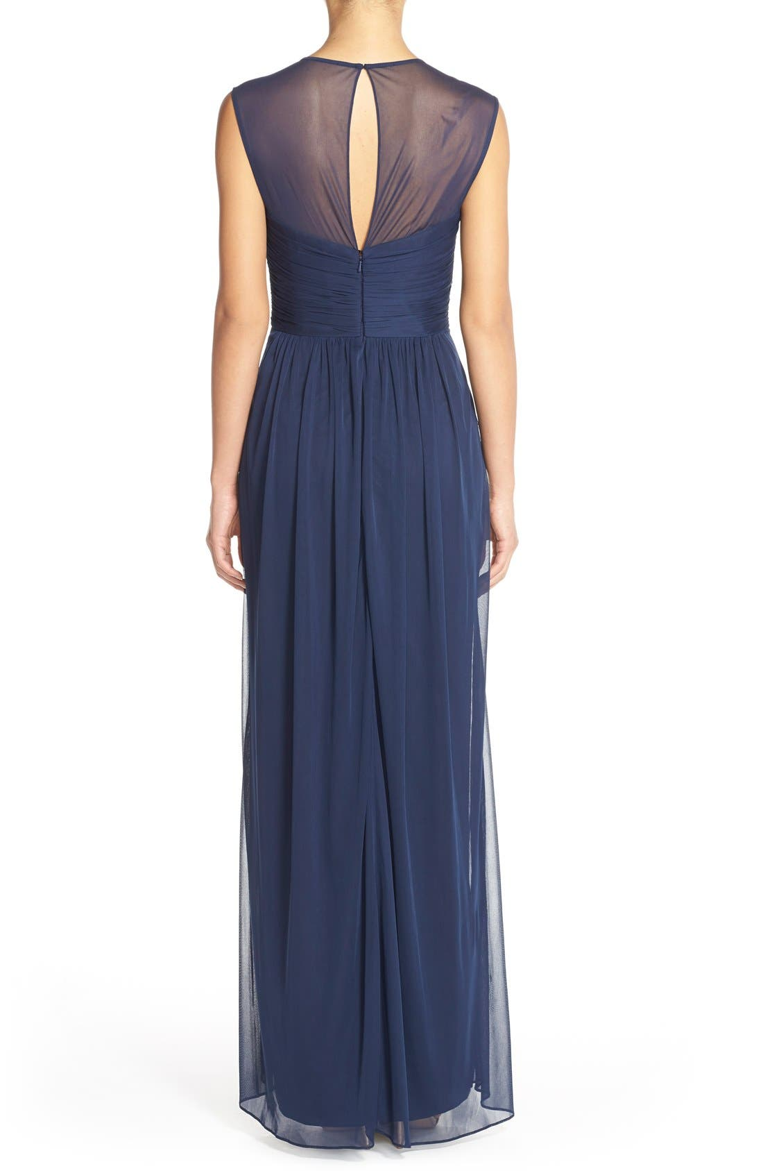 ALFRED SUNG,                             Shirred Chiffon Cap Sleeve Gown,                             Alternate thumbnail 4, color,                             MIDNIGHT