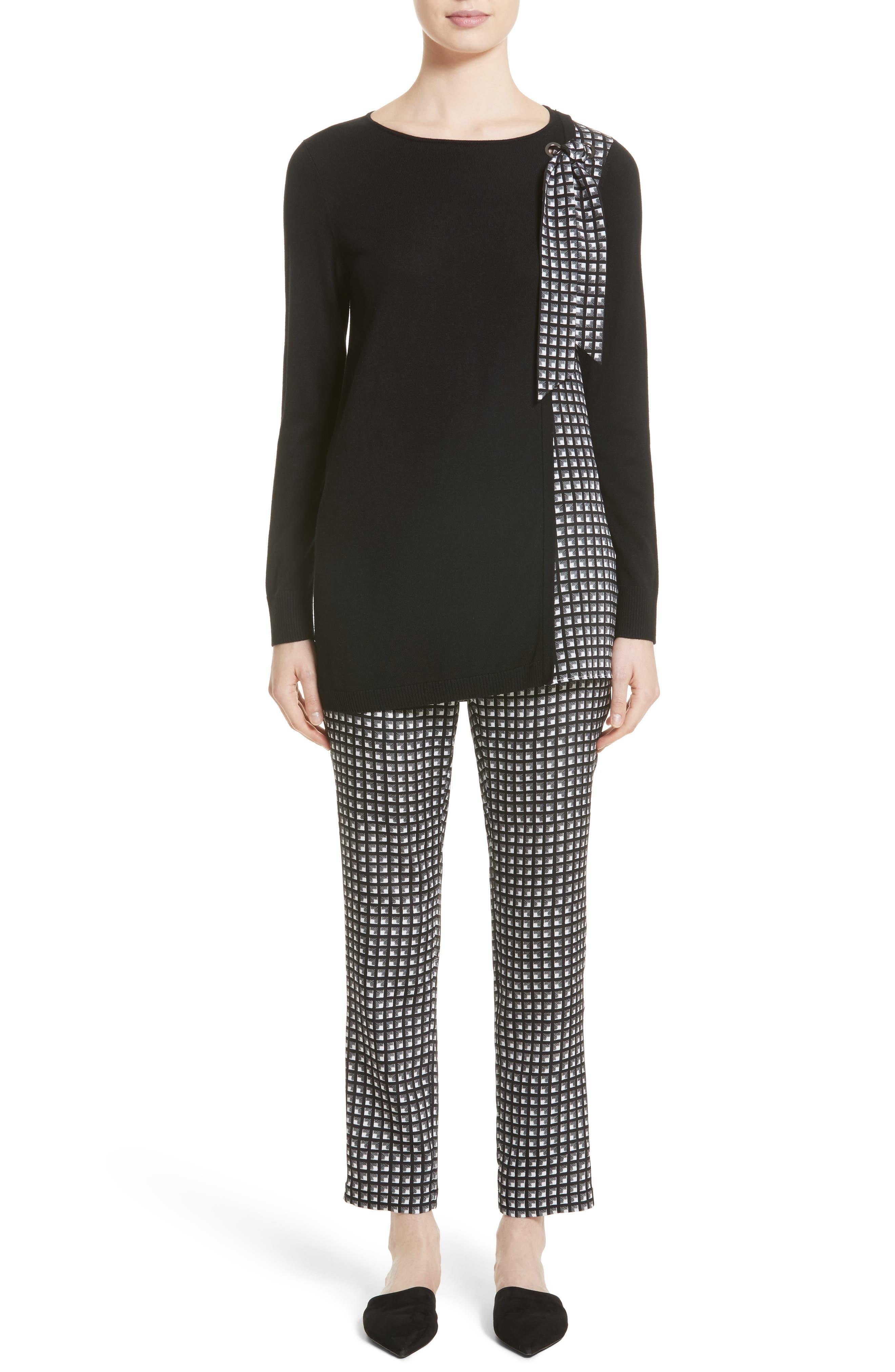 Asymmetrical Jersey Knit Sweater,                             Alternate thumbnail 6, color,                             001