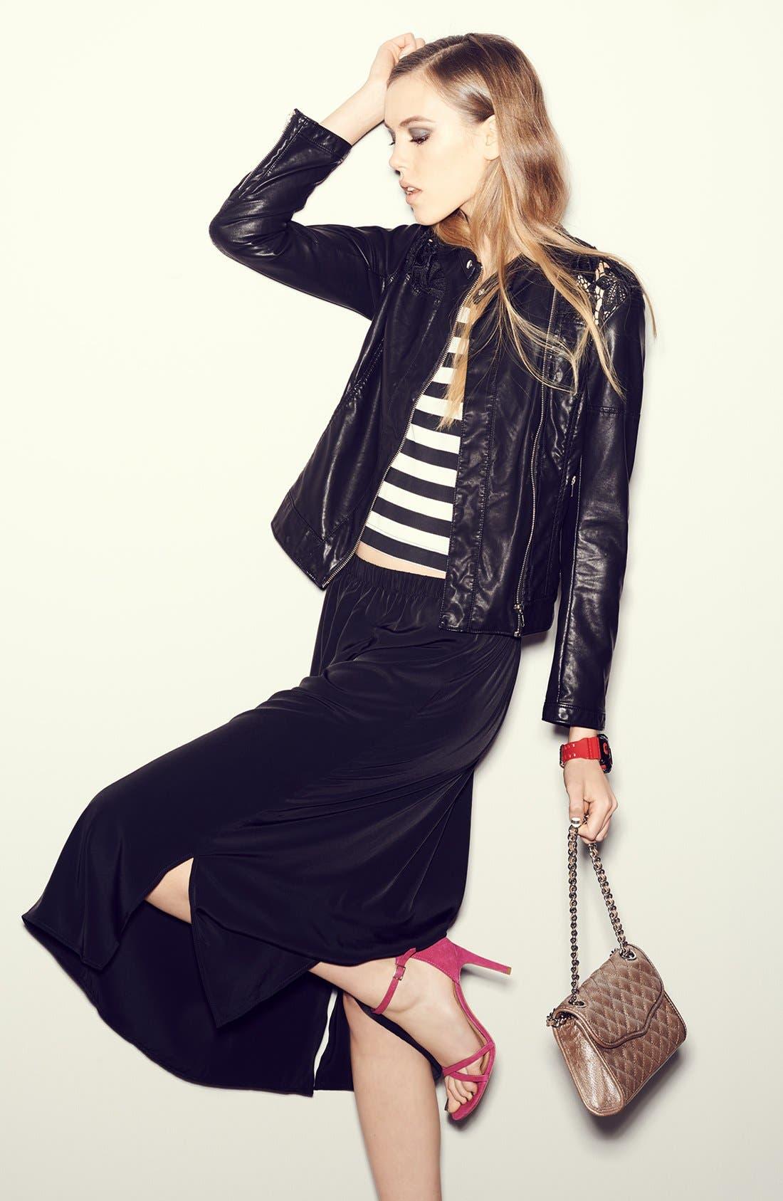 Side Slit Woven Midi Skirt,                         Main,                         color, 030