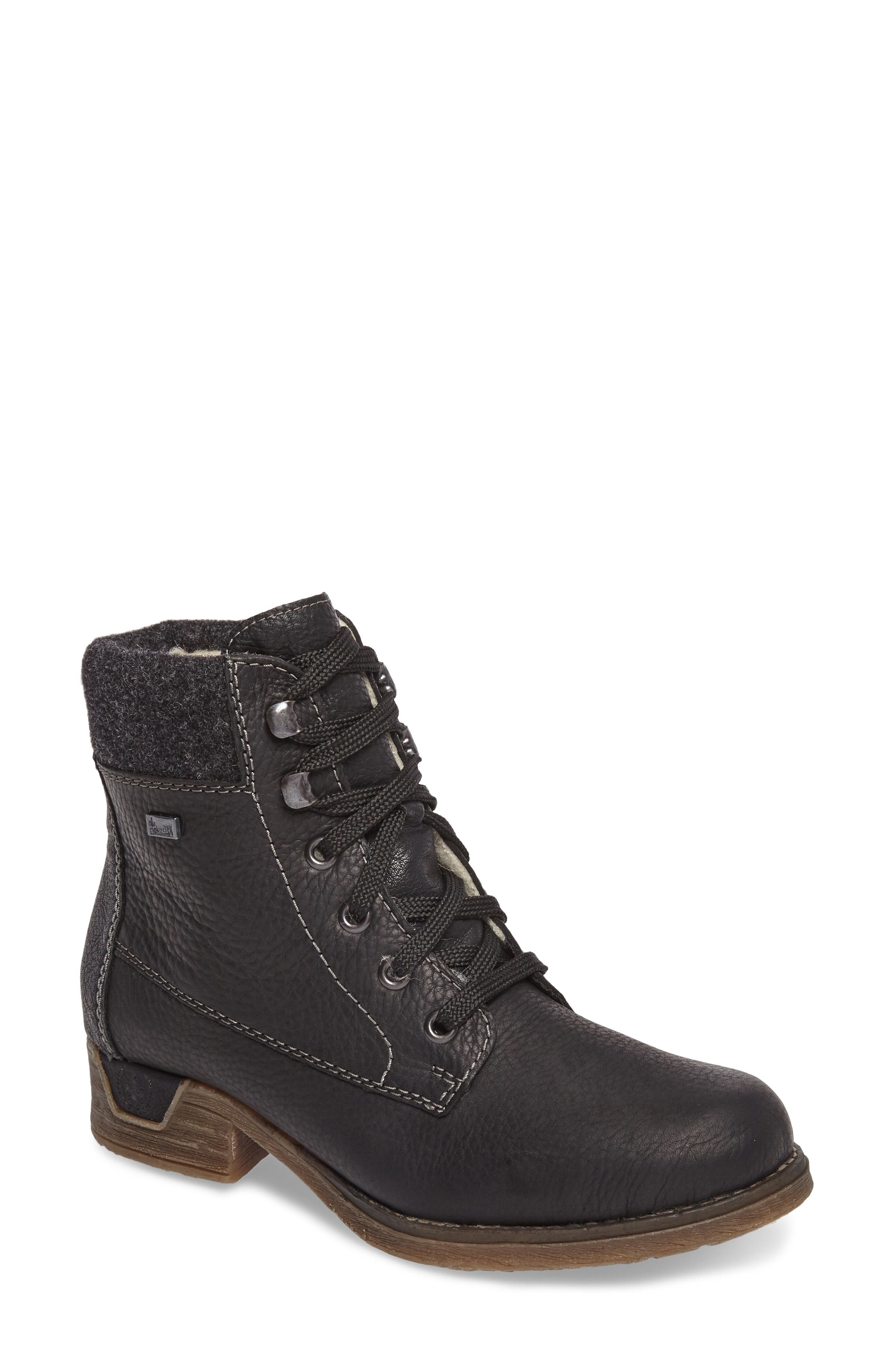 Fee 02 Lace-Up Boot,                             Main thumbnail 1, color,                             SCHWARZ ANTRACHITE LEATHER