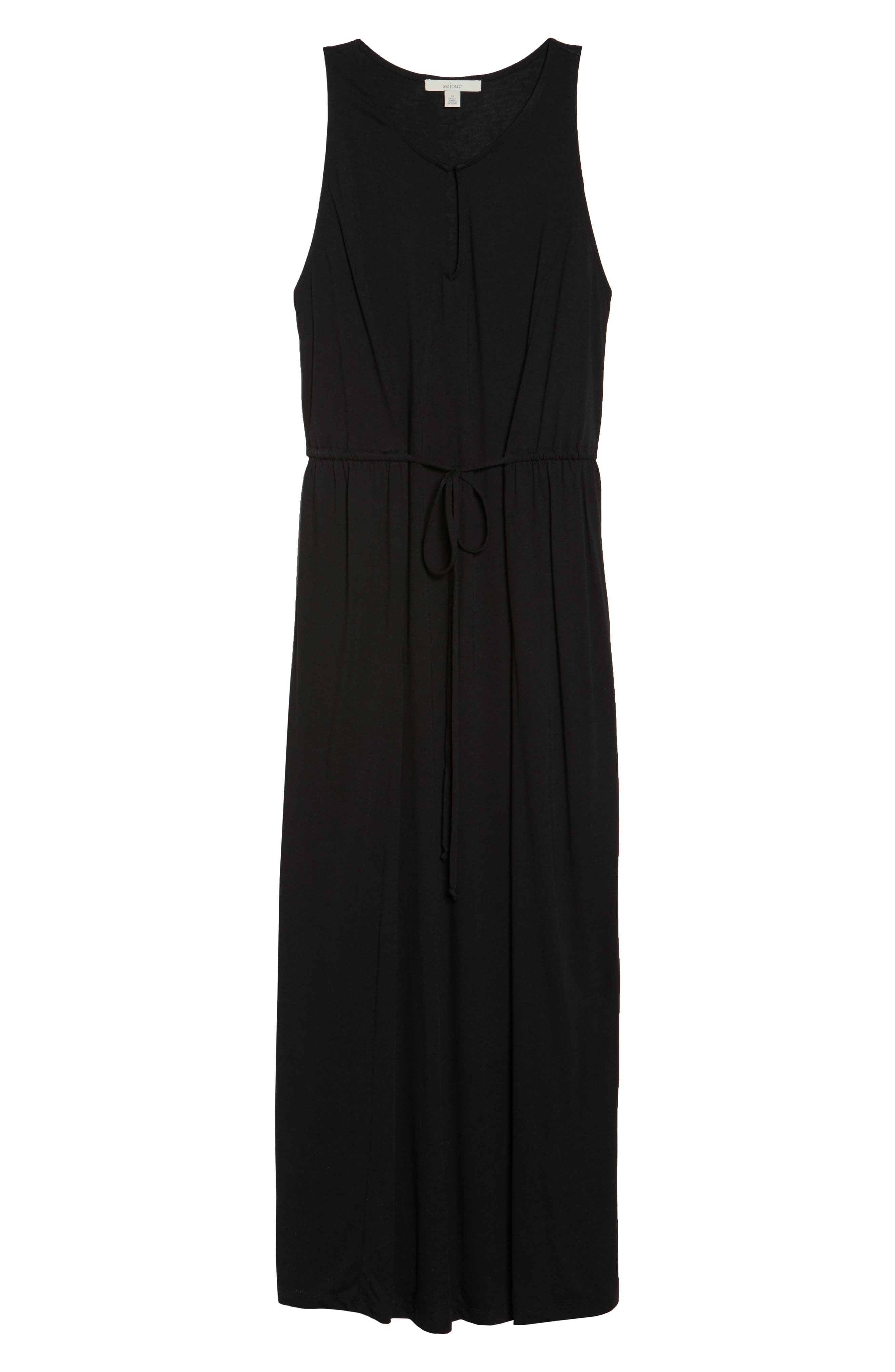Tie Waist Maxi Dress,                             Alternate thumbnail 7, color,                             001